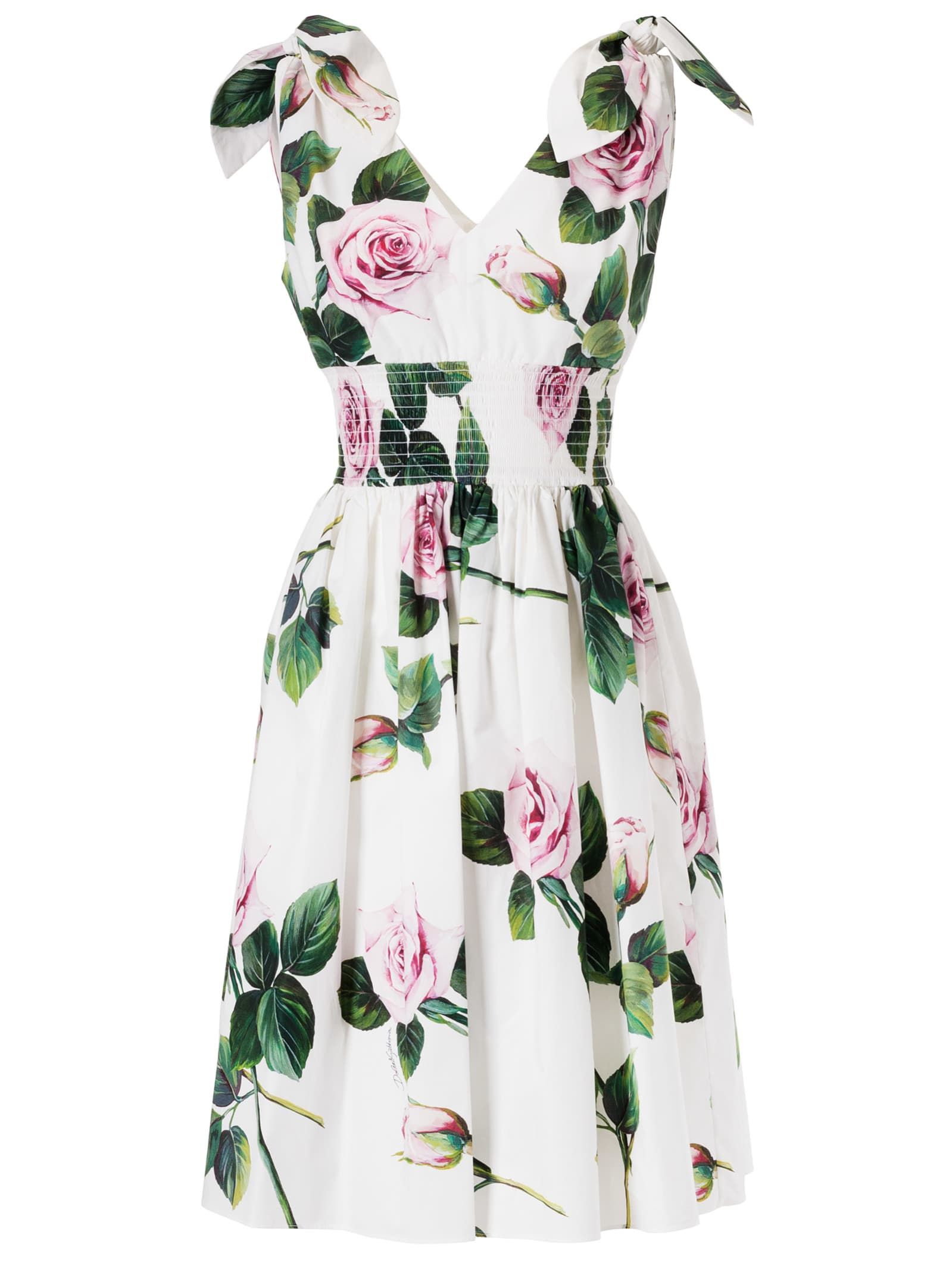 Buy Dolce & Gabbana Rose Printed V-neck Flared Dress online, shop Dolce & Gabbana with free shipping