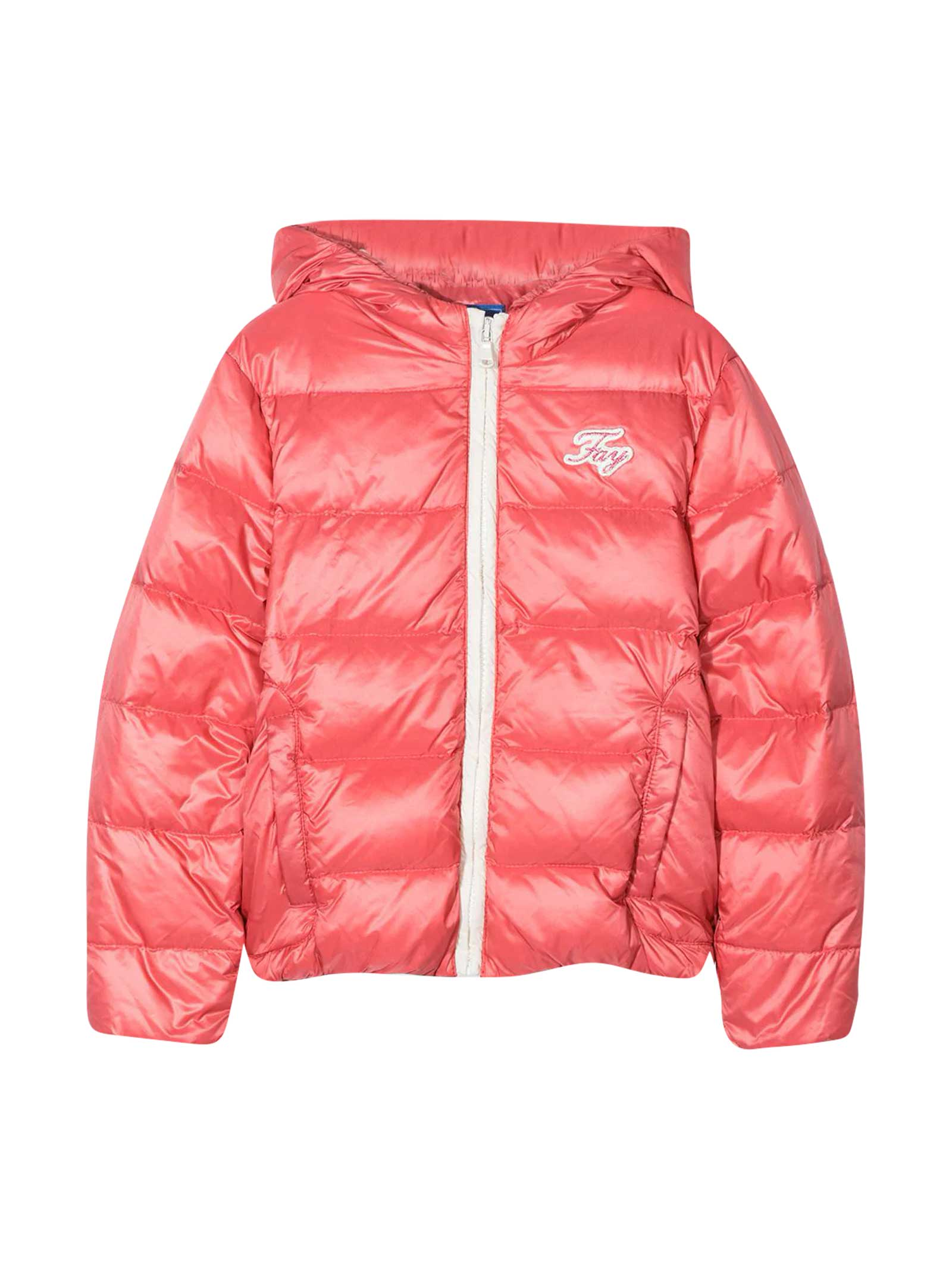 Pink down jacket with hood. Down padding, front logo patch, quilted design, front zip closure and long sleeves. 100% Goose Feather