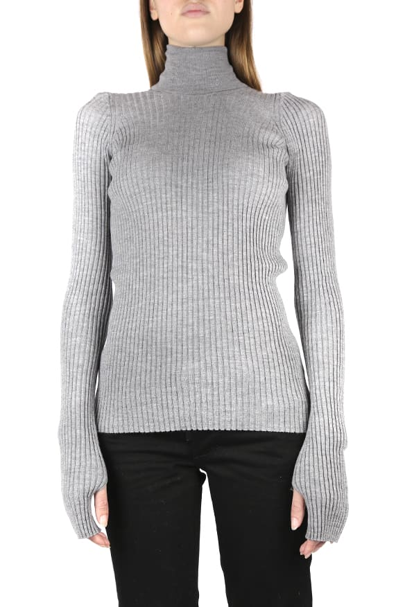 Maison Margiela Grey Ribbed Wool Sweater