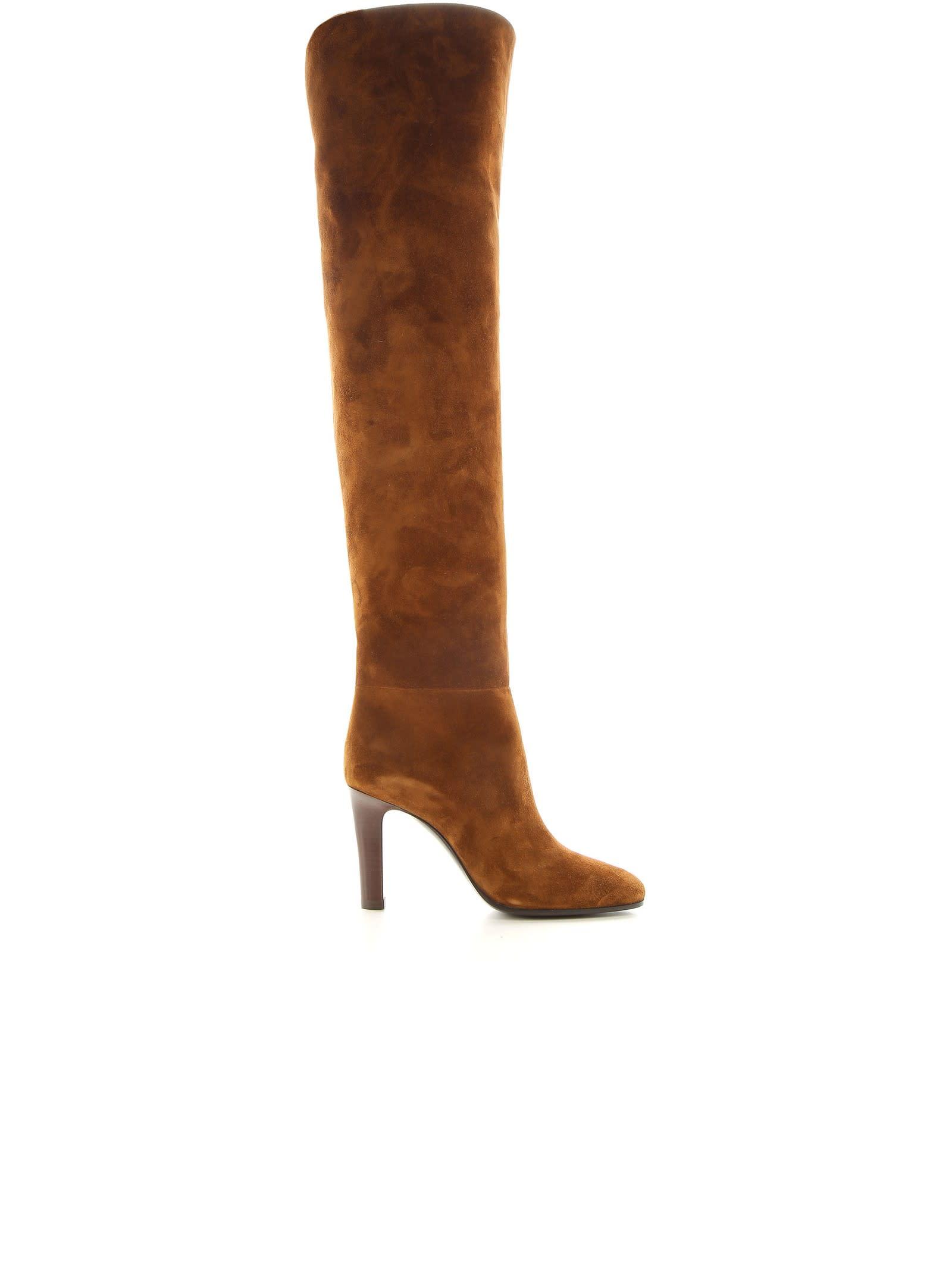 Buy Saint Laurent Brown Suede Blu 90 Boots online, shop Saint Laurent shoes with free shipping