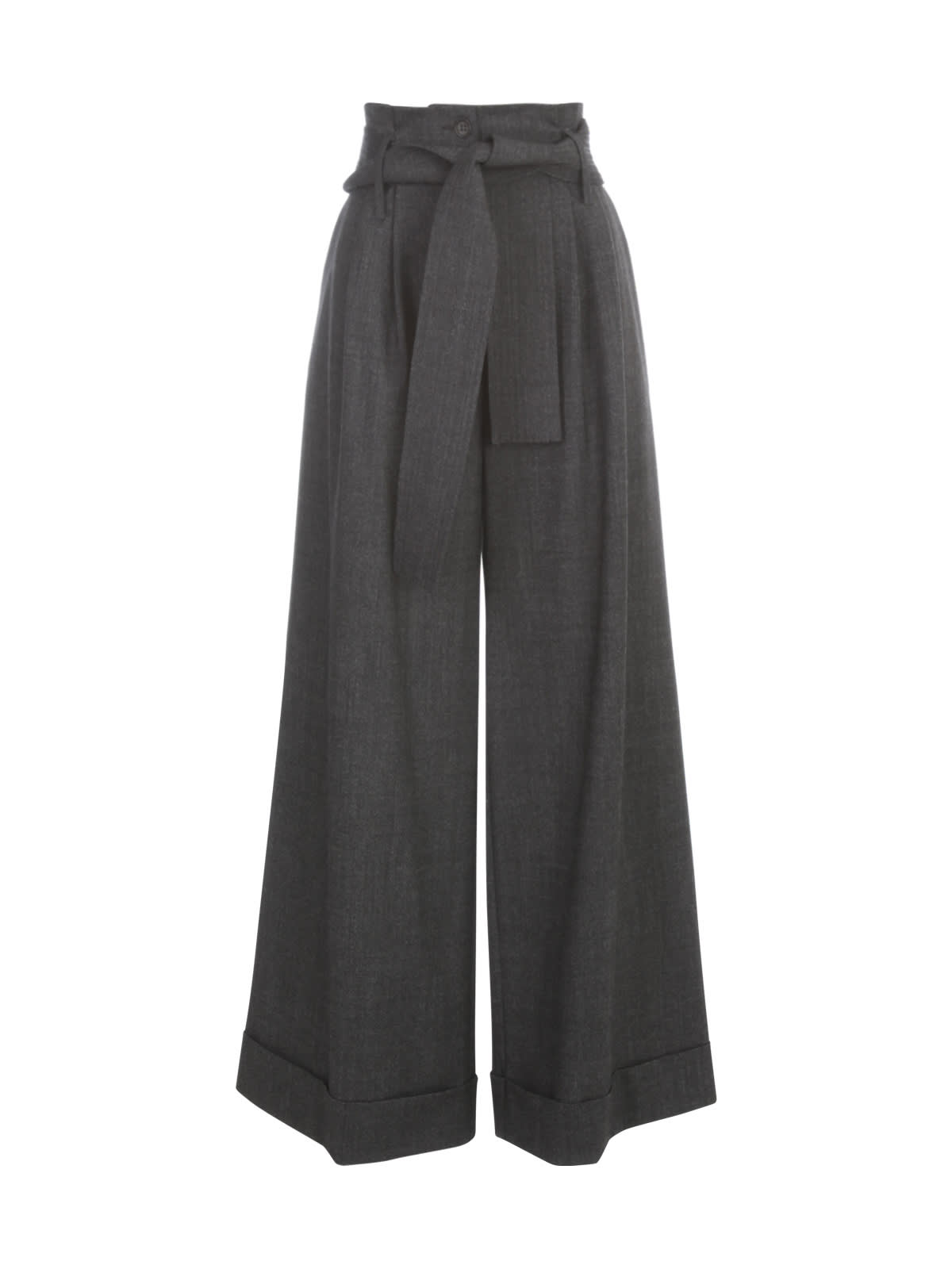 Parosh Long Wide Leg Pants W/lapel And Belt