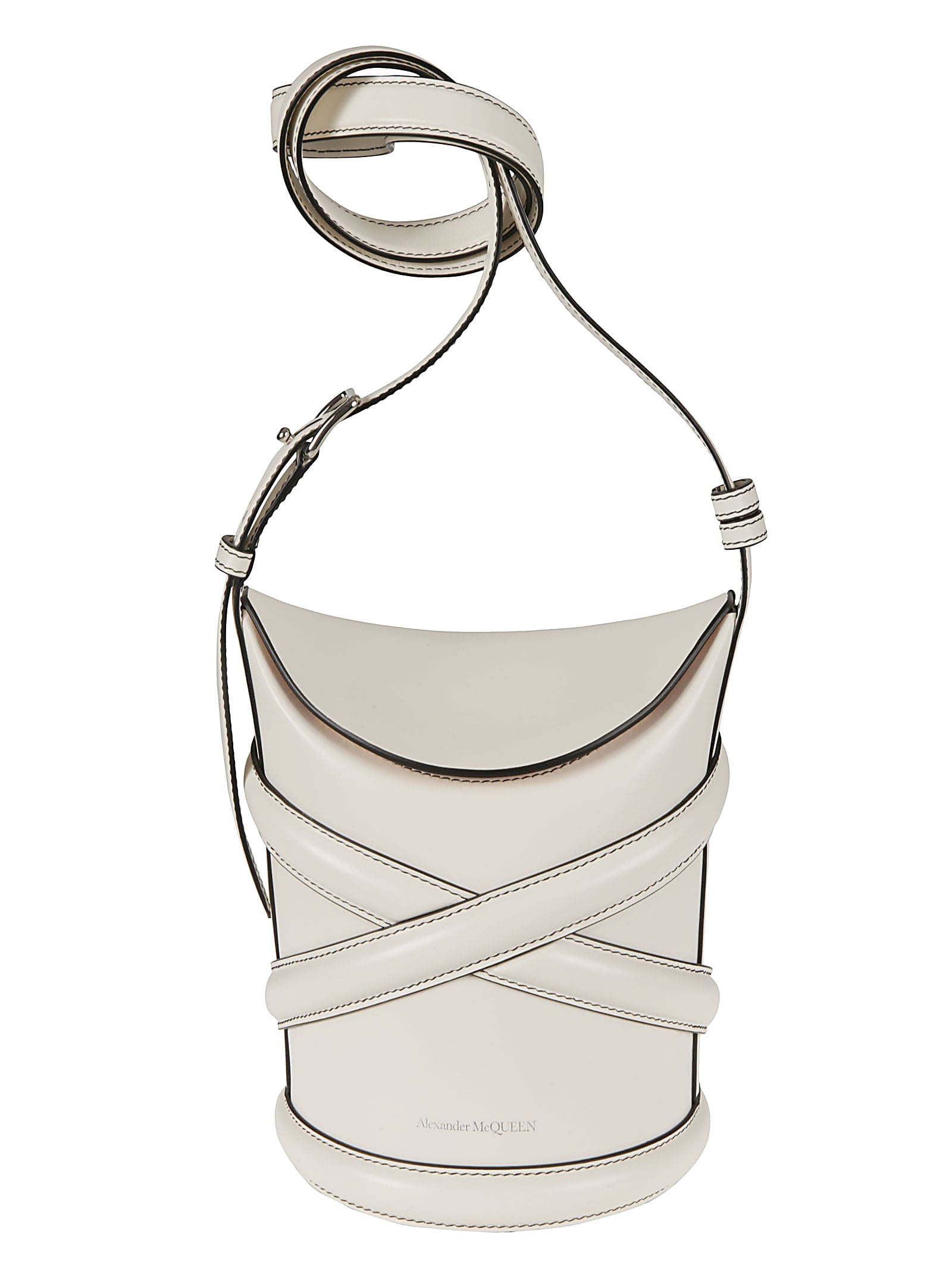 Alexander Mcqueen Leathers LOGO DETAIL SMALL CURVE BUCKET BAG