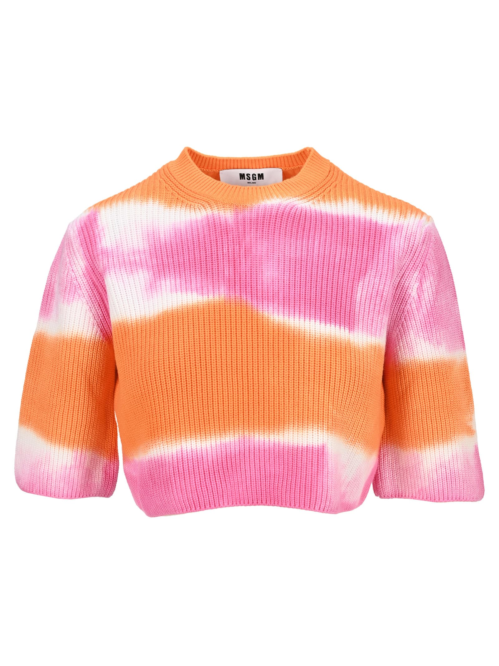 Msgm Cottons MSGM TIE-DYE CROPPED SWEATER