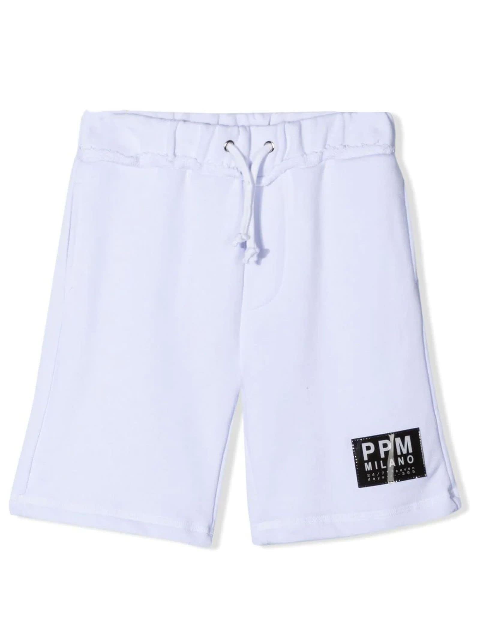 Paolo Pecora Cottons WHITE COTTON TRACK SHORTS