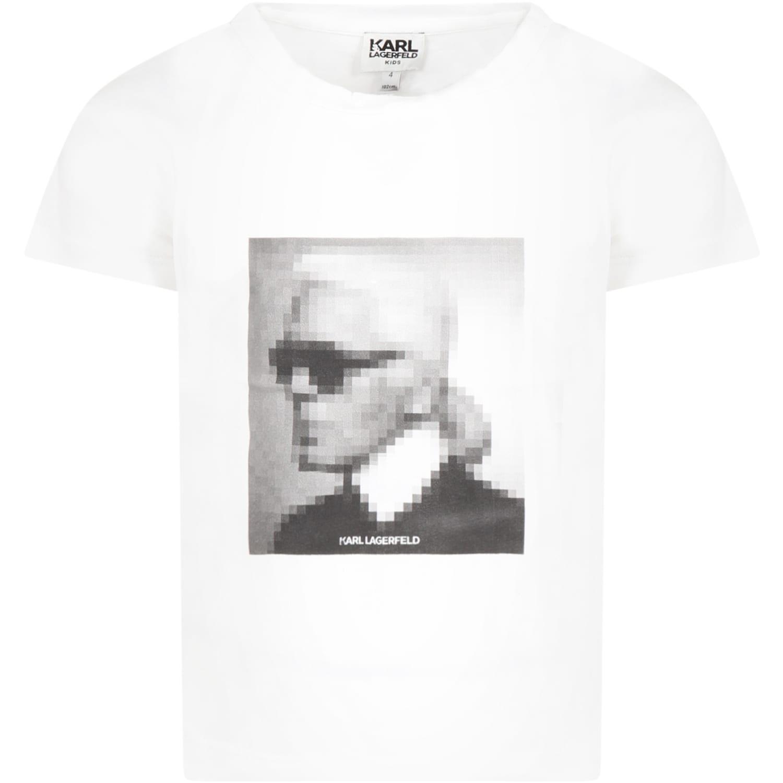 Karl Lagerfeld WHITE T-SHIRT FOR GIRL WITH KARL LAGERFELD
