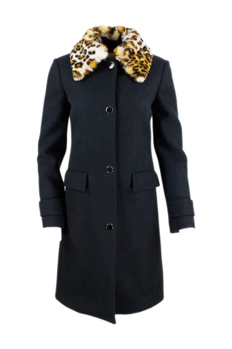 Single-breasted Coat In Wool With Detachable Faux Fur Collar