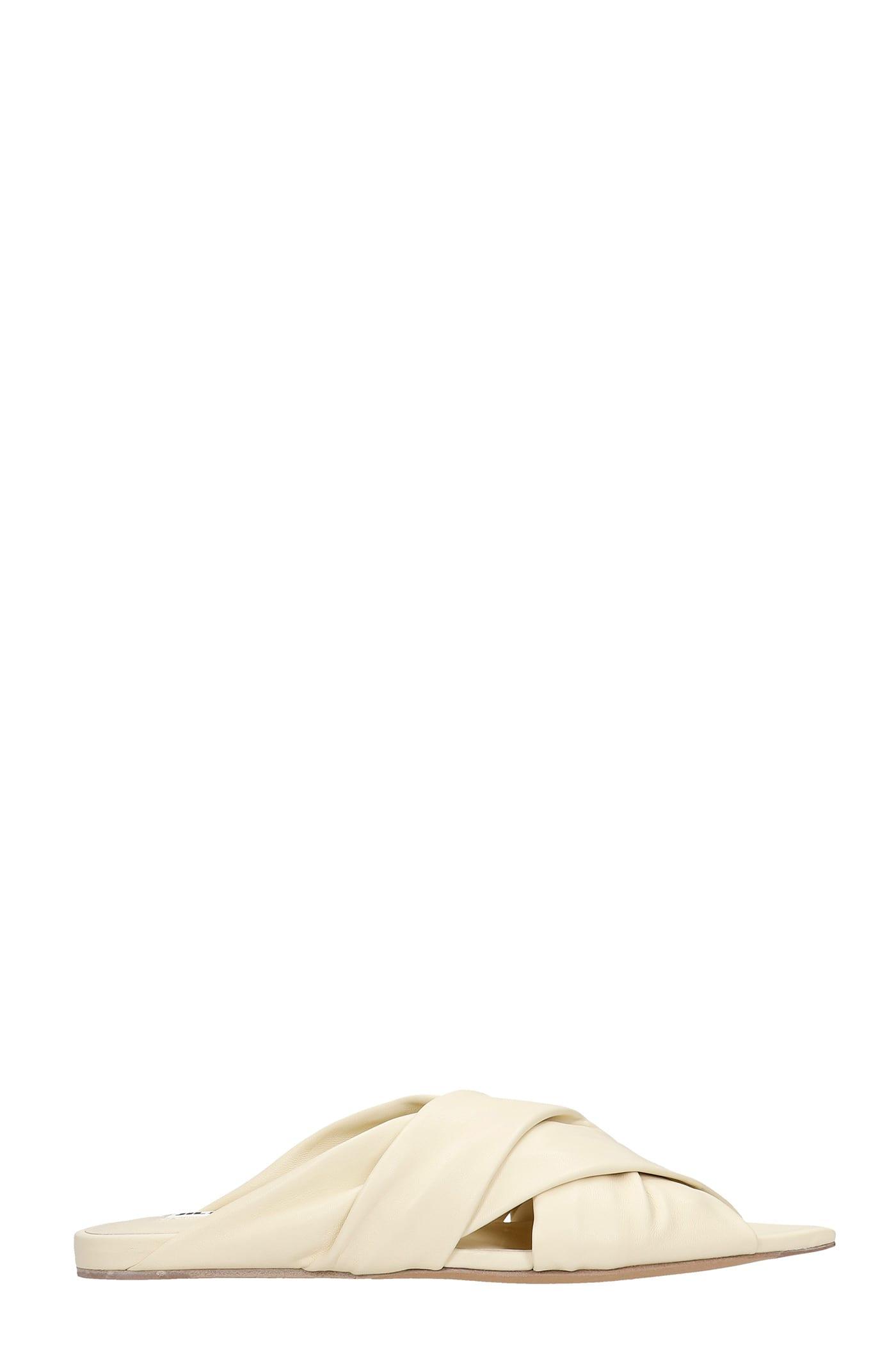 Buy Jil Sander Flats In Beige Leather online, shop Jil Sander shoes with free shipping