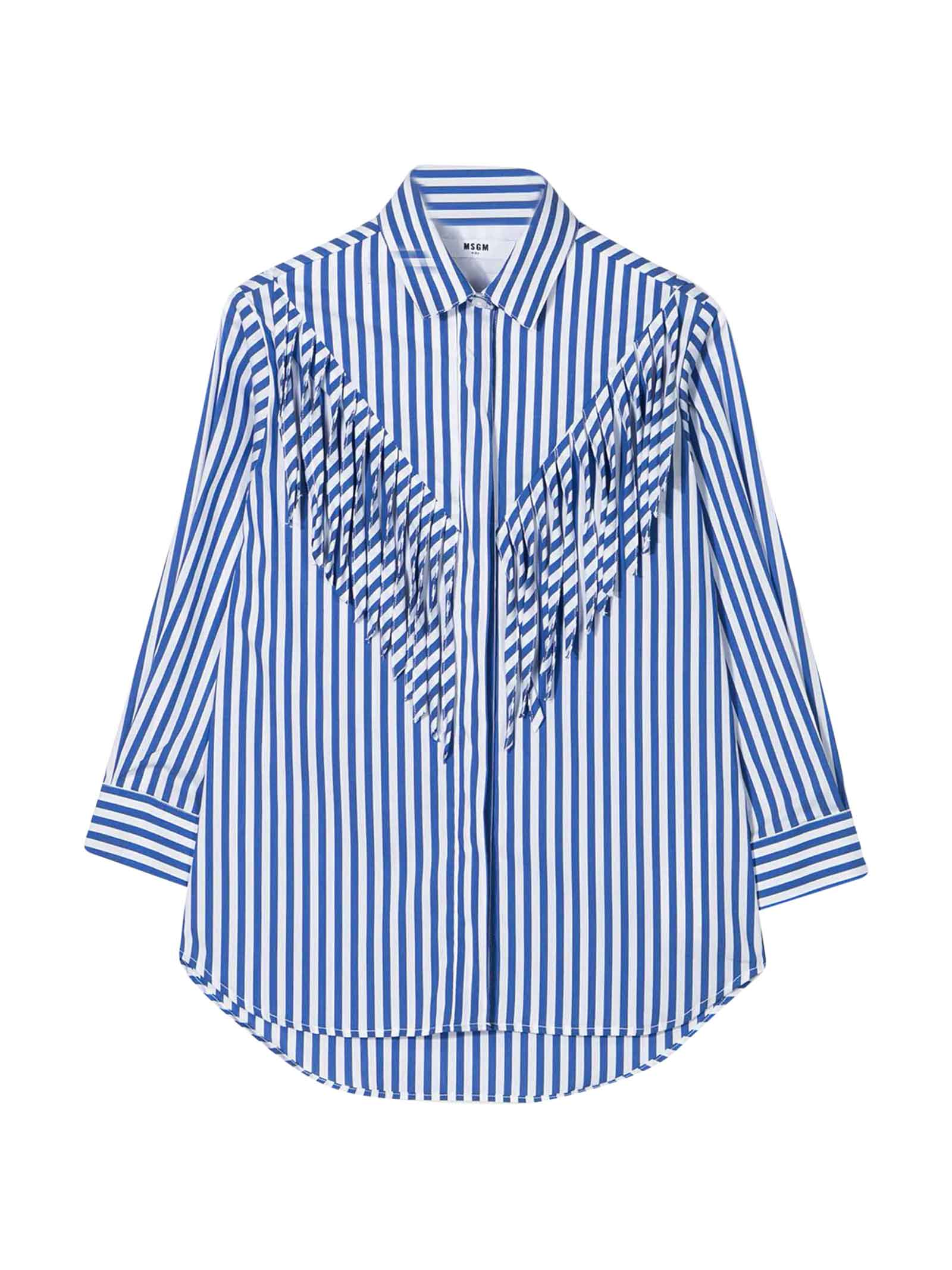 Msgm WHITE SHIRT WITH BLUE STRIPED