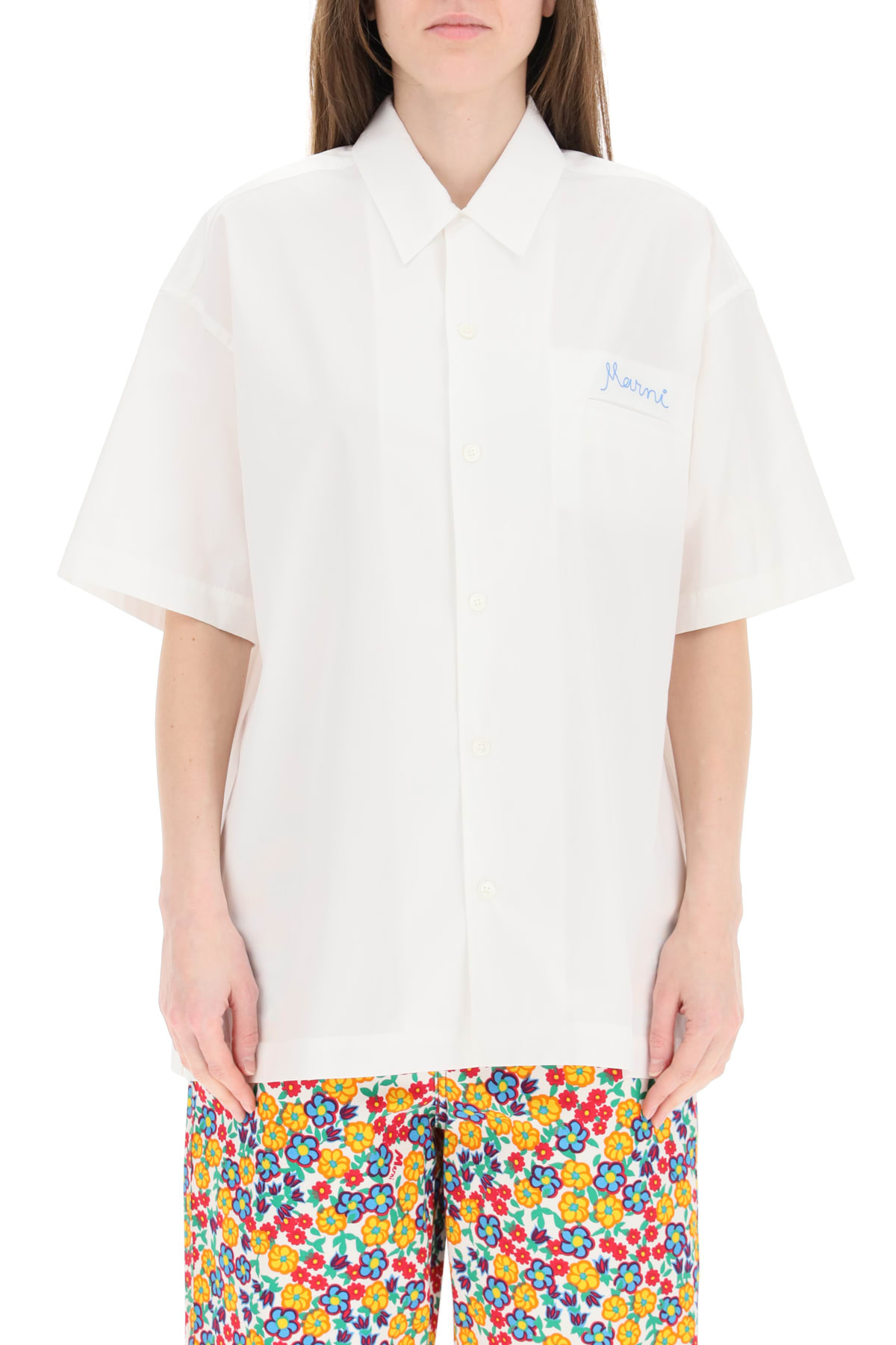 Marni OVER SHIRT WITH EMBROIDERY