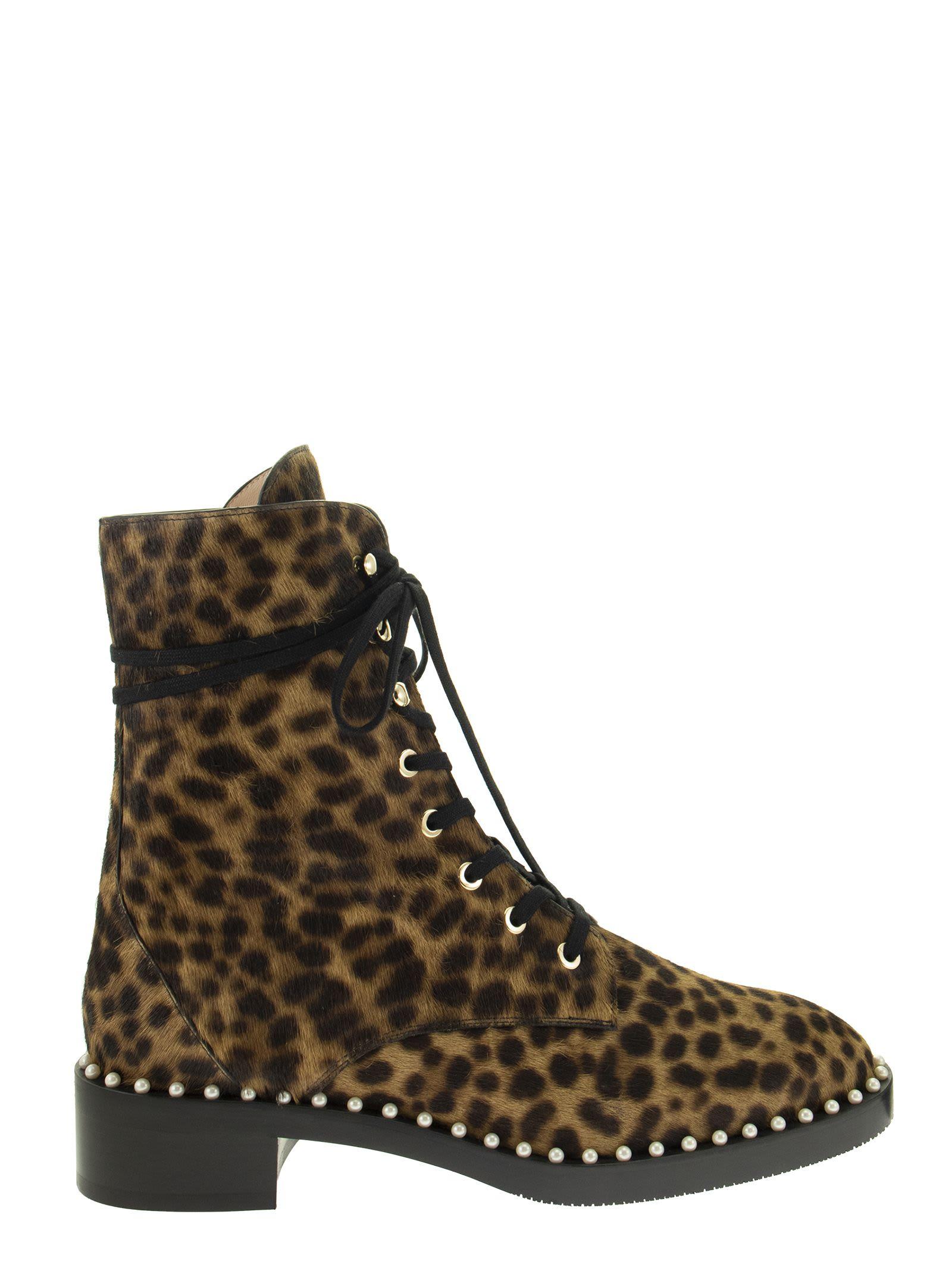 Buy Stuart Weitzman Sondra Classic - Cheetah Leather Ankle Boot online, shop Stuart Weitzman shoes with free shipping