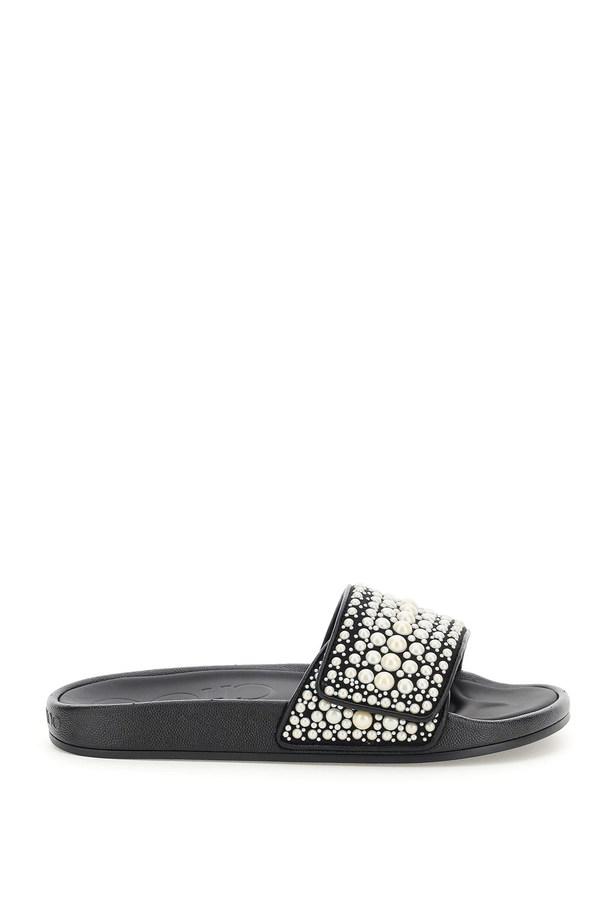 Buy Jimmy Choo Rubber Slides With Pearls online, shop Jimmy Choo shoes with free shipping
