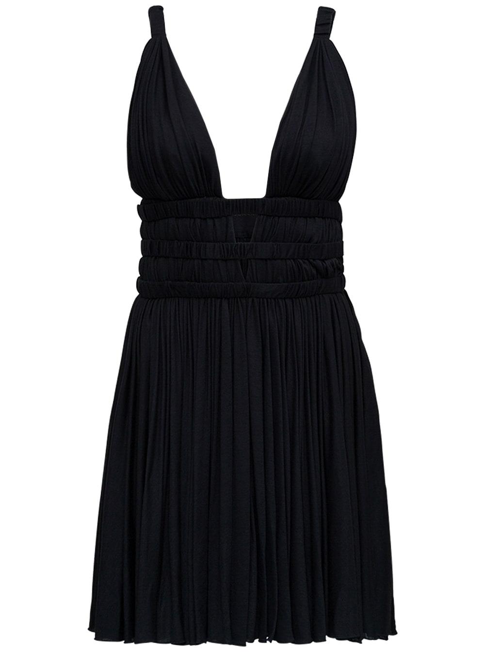 Black Pleated Jersey Dress With Deep V-neckline