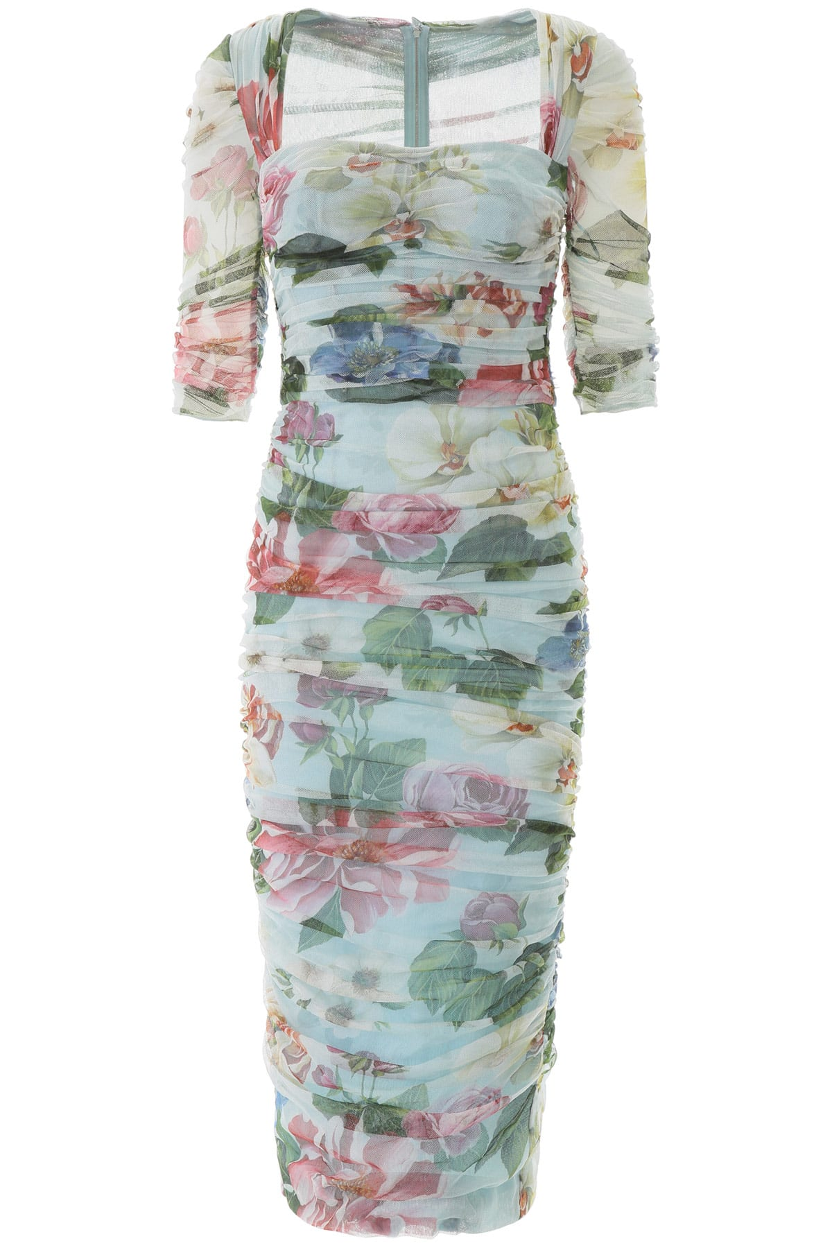Buy Dolce & Gabbana Floral Print Tulle Midi Dress online, shop Dolce & Gabbana with free shipping