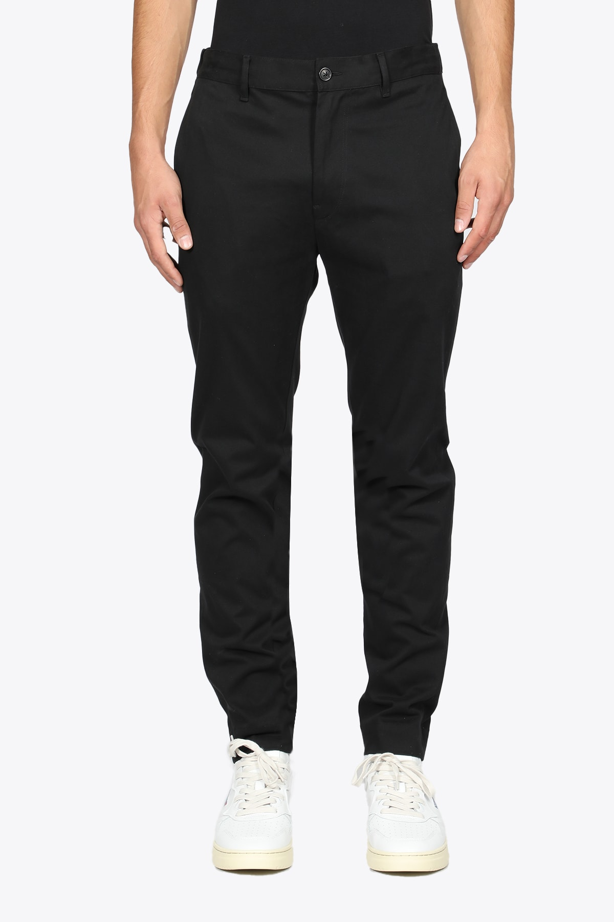 Black Cotton Slim Fit Pant With Inner Drawstring