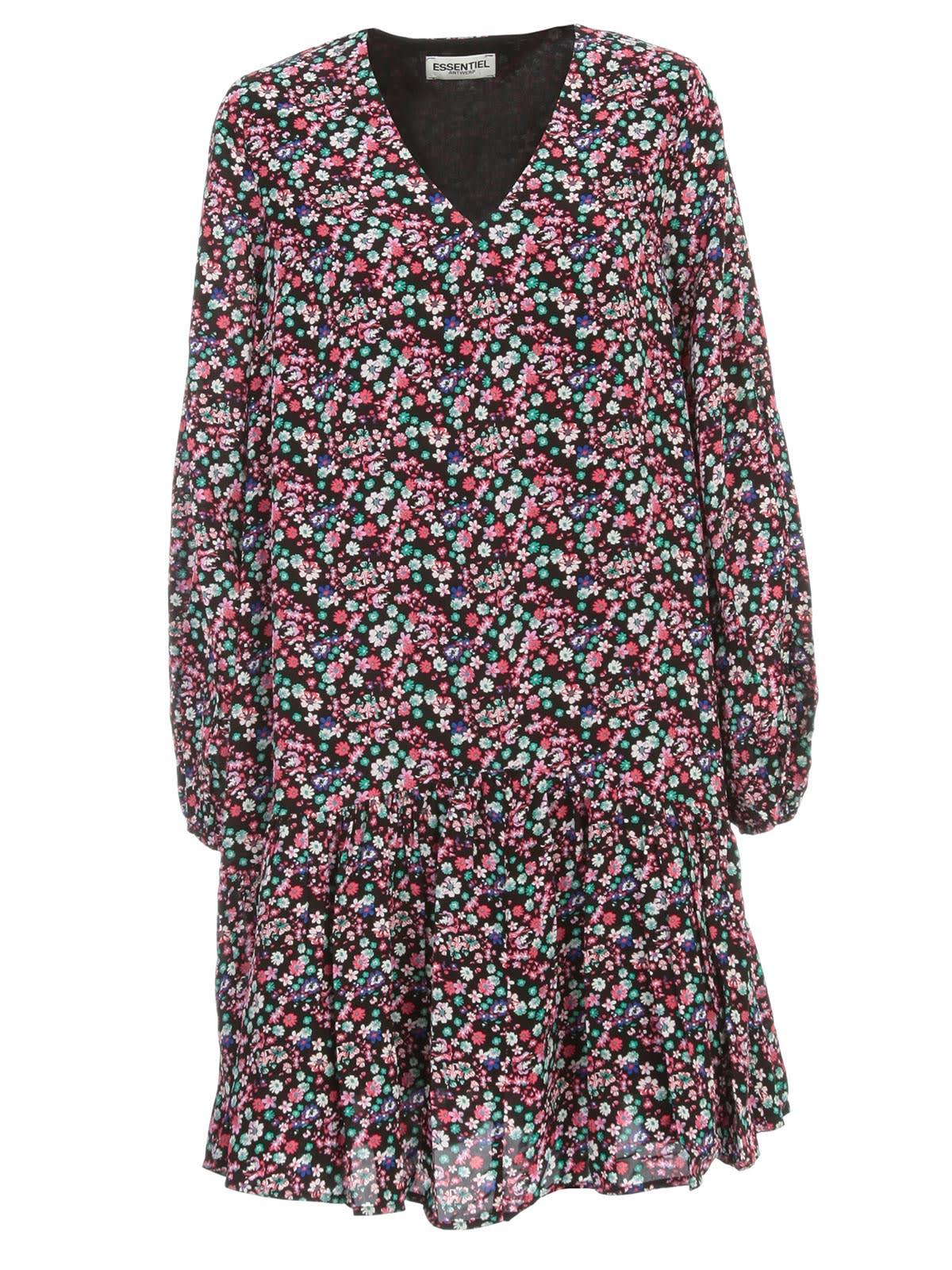 Buy Essentiel Antwerp Verci V Neck Flounced Dress L/s online, shop Essentiel Antwerp with free shipping