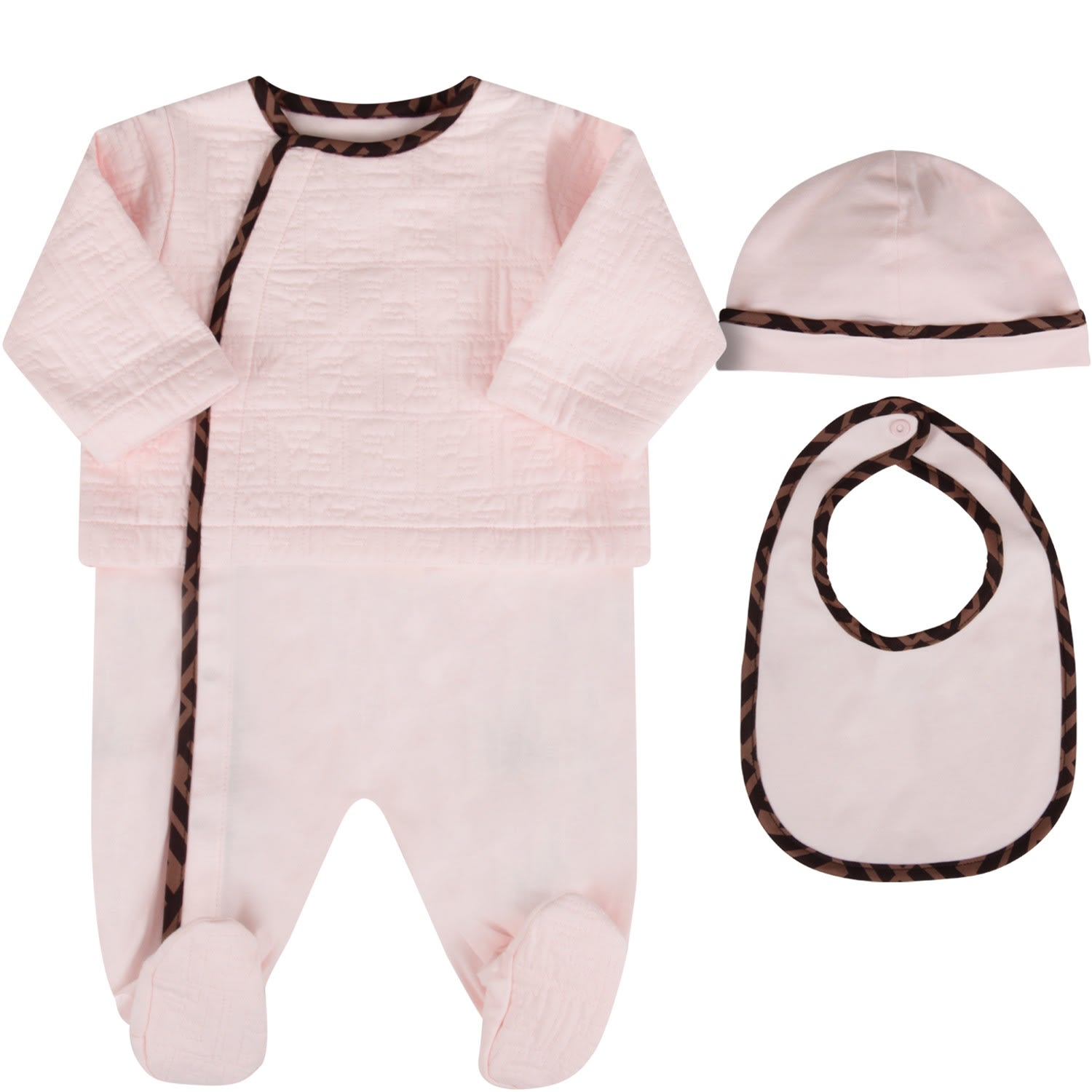Fendi PINK BABYGIRL SET WITH DOUBLE FF