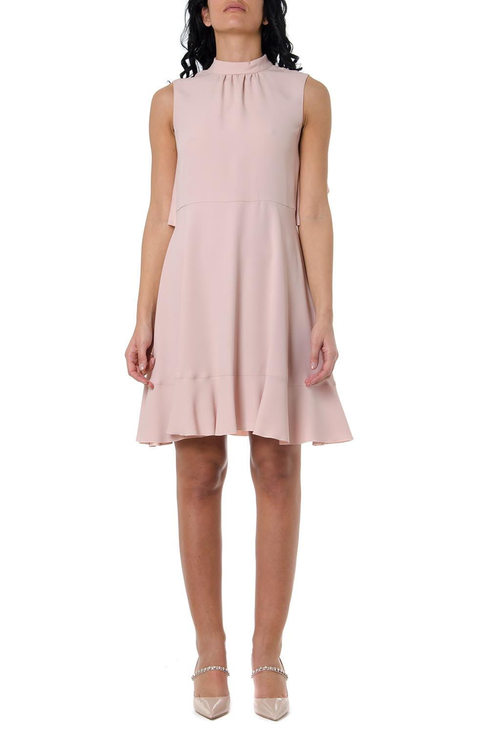 Buy RED Valentino Crepe Dress In Pale Pink Color online, shop RED Valentino with free shipping