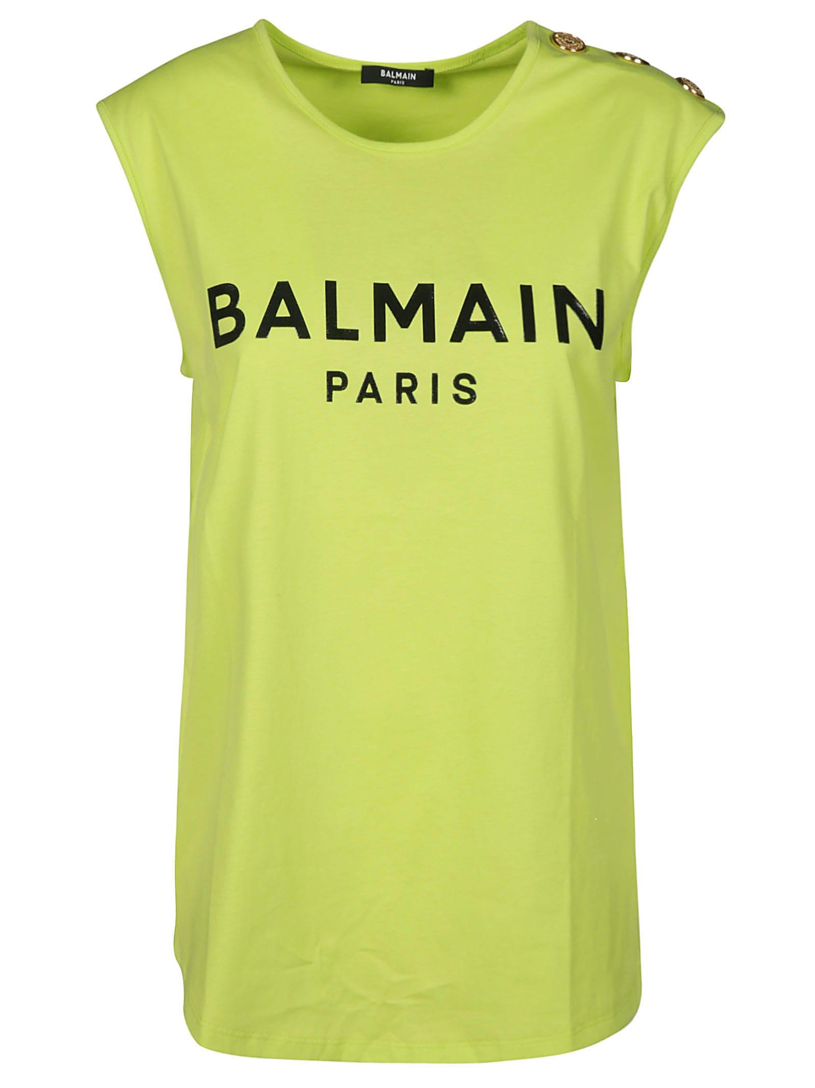 Balmain T-shirts BUTTON EMBELLISHED SLEEVELESS LOGO T-SHIRT