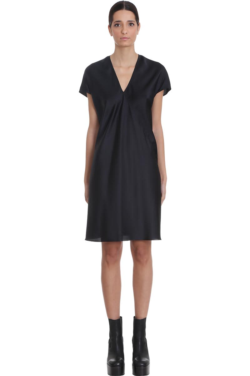 Buy Rick Owens V Dress Dress In Black Silk online, shop Rick Owens with free shipping