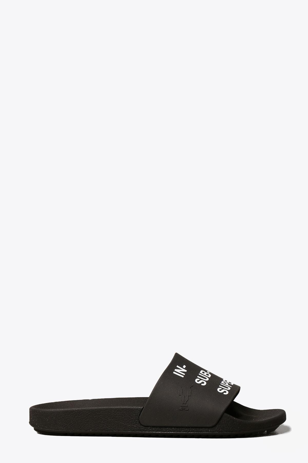 Black Rubber Slide With Slogan Print