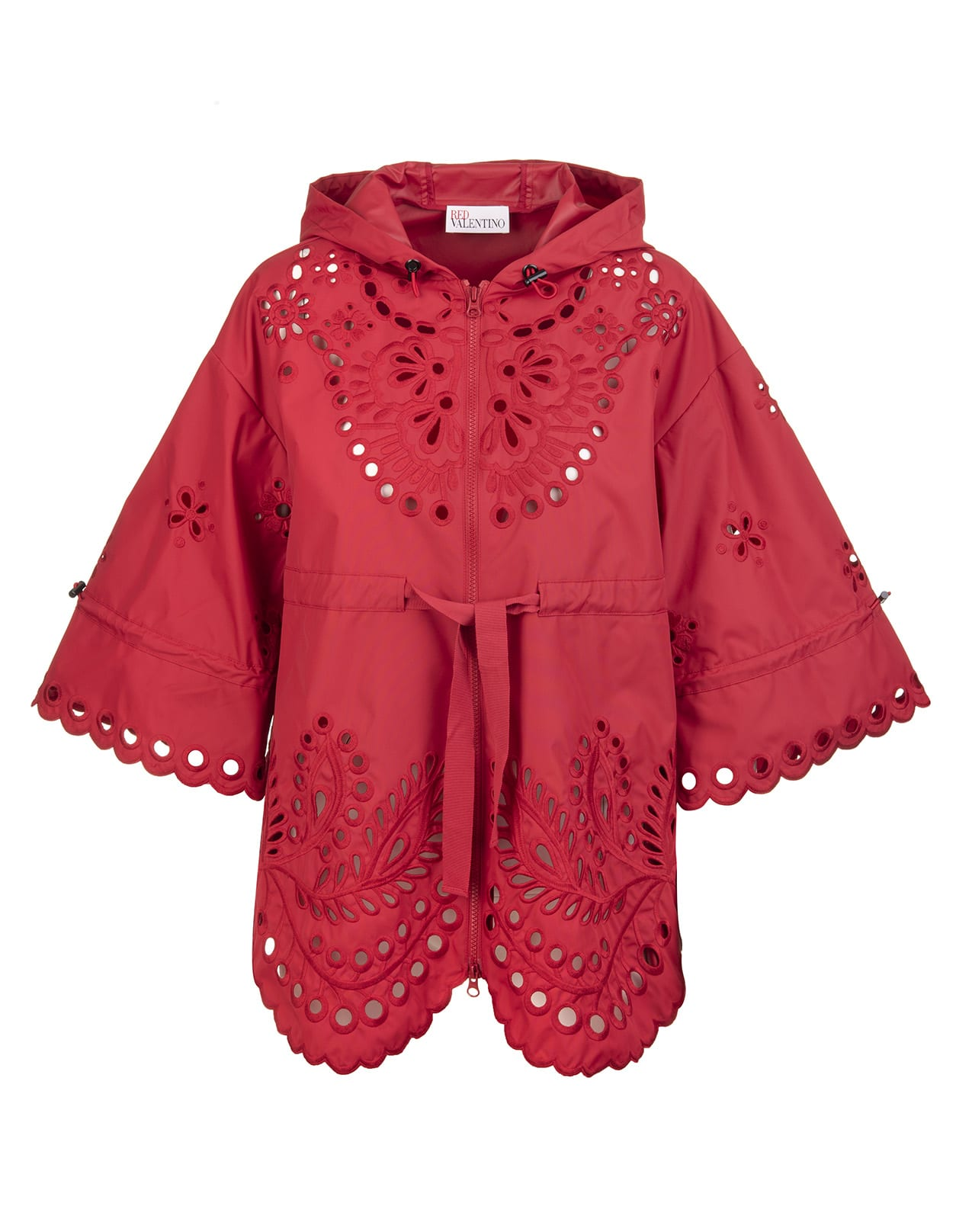 RED Valentino Cherry-red Floral Embroidery Hooded Jacket