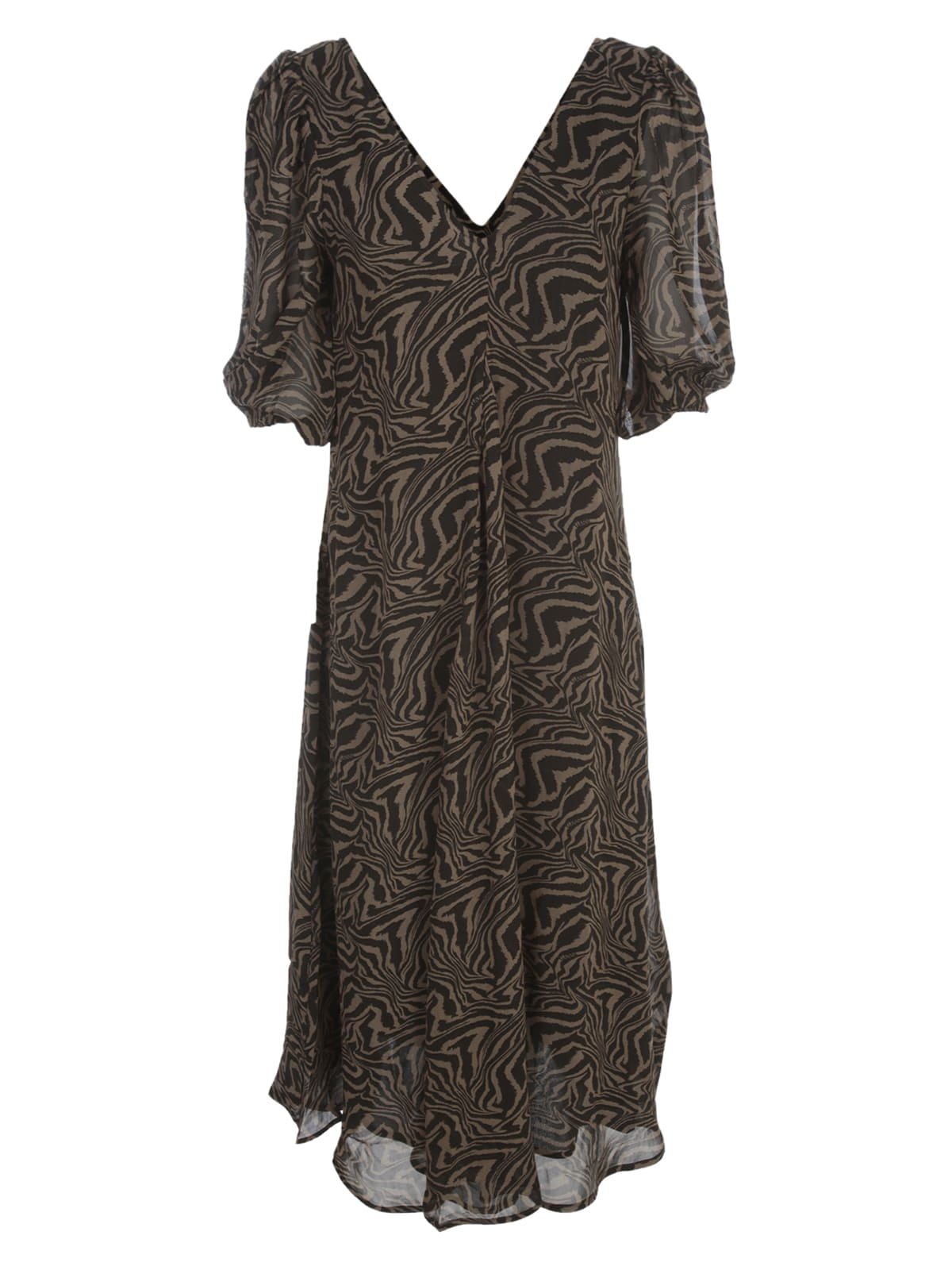 Buy Ganni Printed Georgette Maxi Dress 3/4s V Neck online, shop Ganni with free shipping
