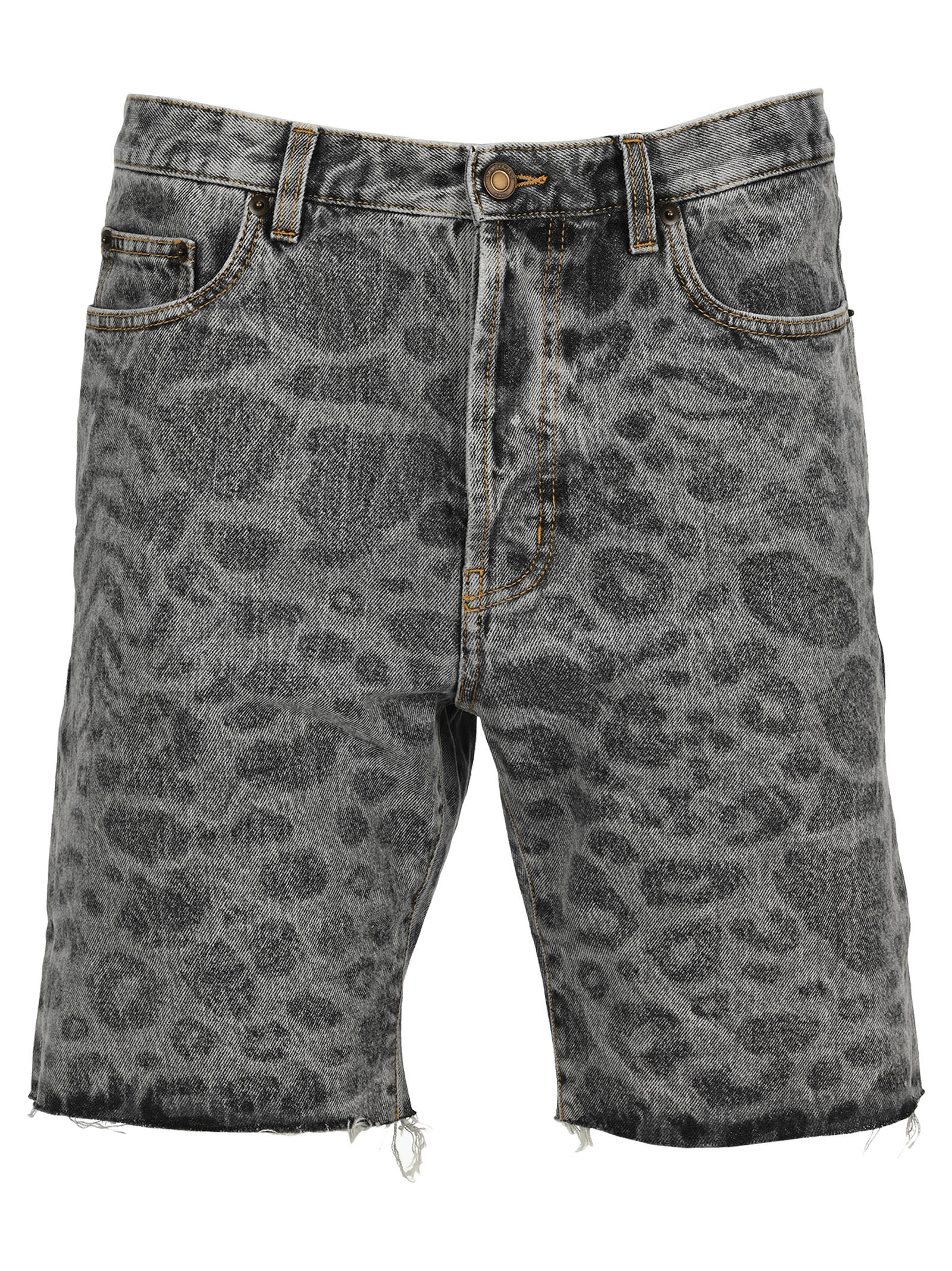 Saint Laurent LEOPARD-PRINT DENIM SHORTS