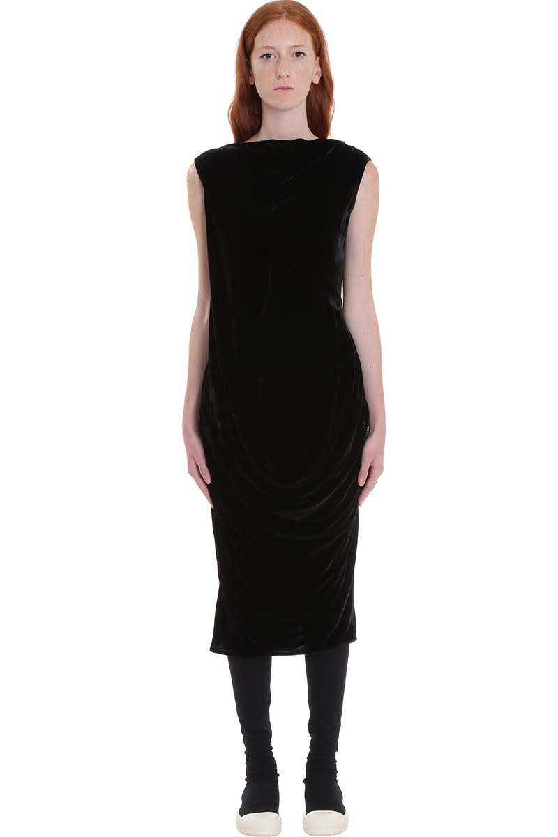 Rick Owens Slash Neck Dress In Black Velvet