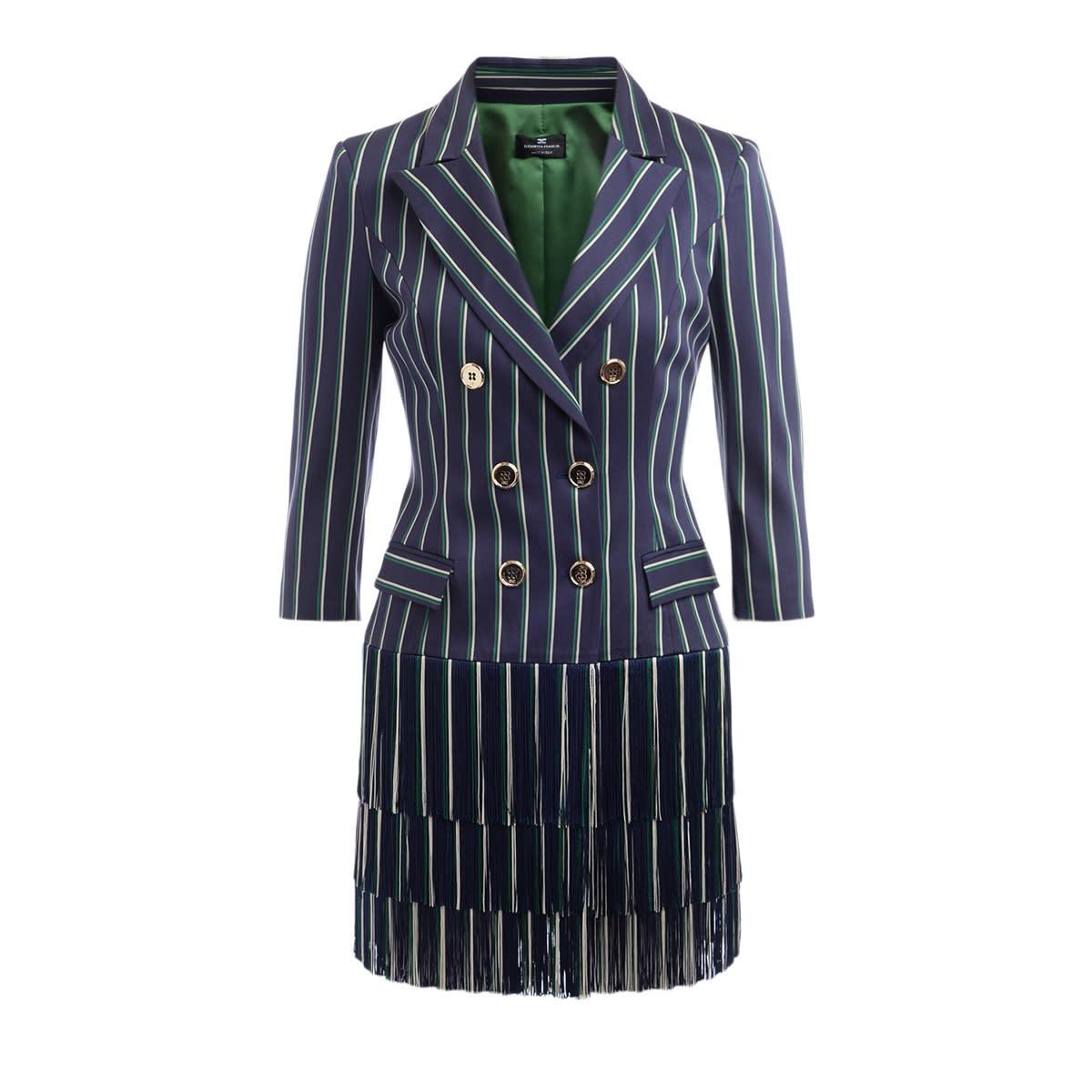 Buy Double-breasted Elisabetta Franchi Multi-stripe Dress online, shop Elisabetta Franchi Celyn B. with free shipping