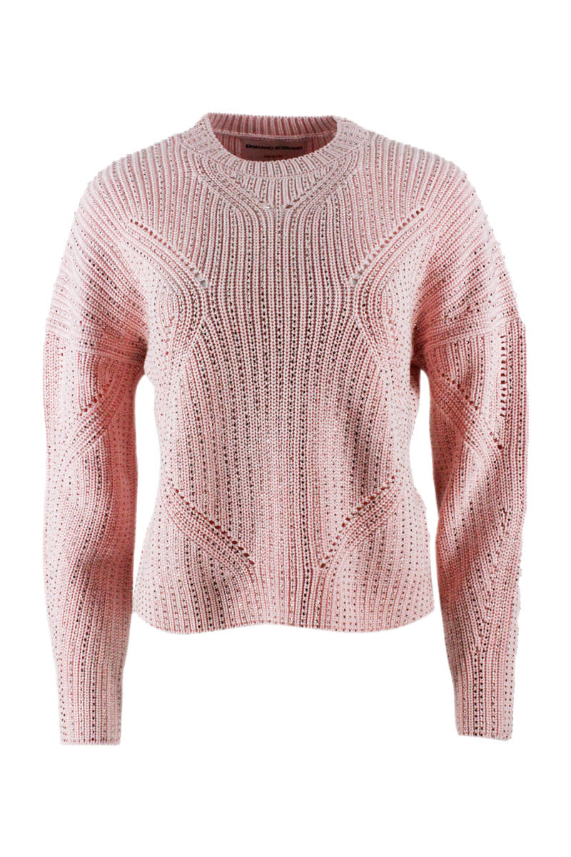 Ermanno Scervino LONG-SLEEVED CREW NECK SWEATER IN COTTON WITH CRYSTALS