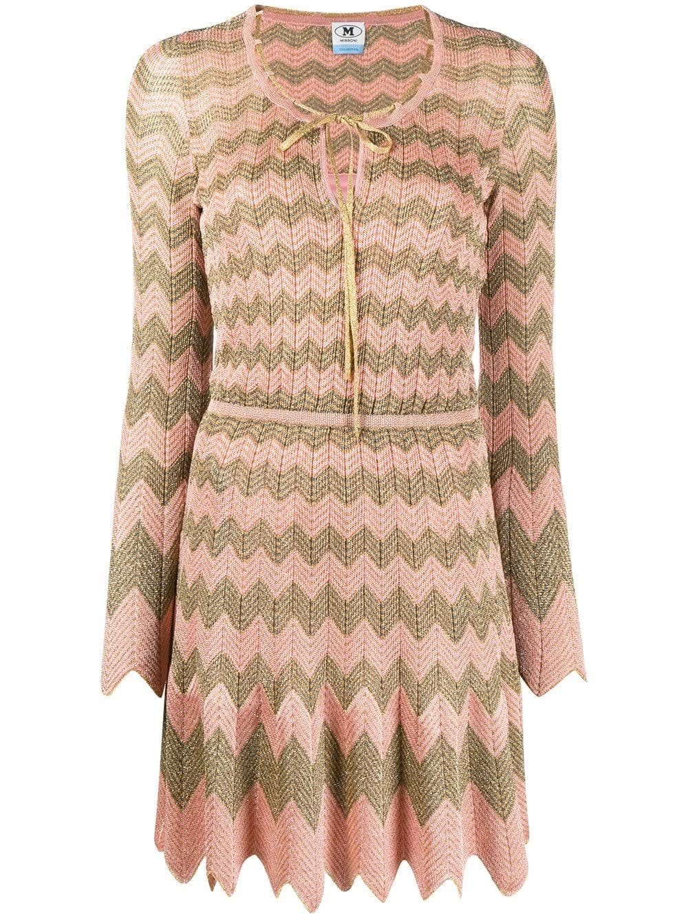 M Missoni Cardigans ZIG ZAG PLEATED DRESS WITH BOW DETAIL
