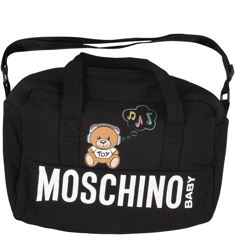 2f38ea663 Moschino Moschino Black Babykids Changing Bag With Dj Teddy Bear ...