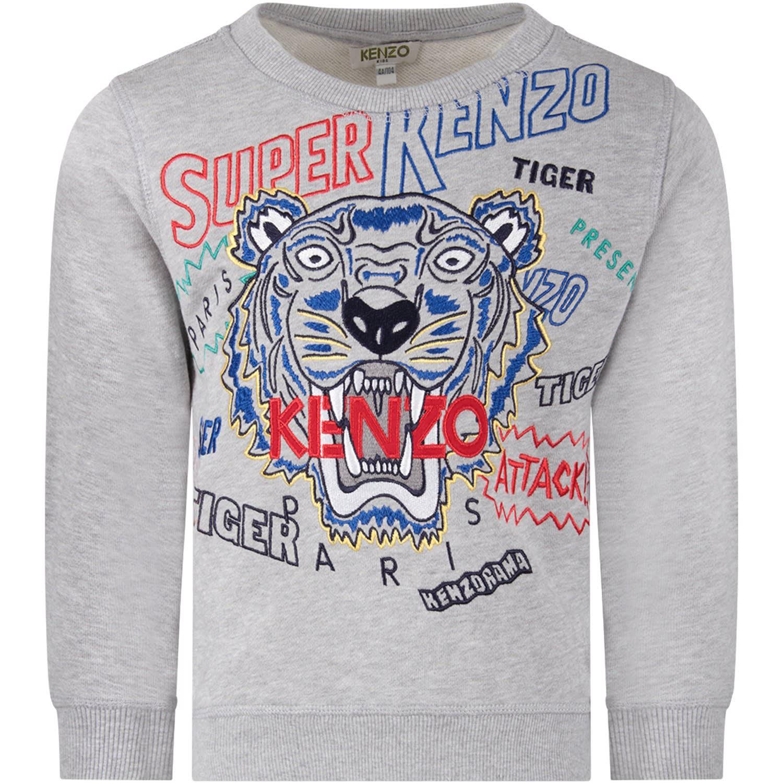 9f136982 Kenzo Kids Grey Boy Sweatshirt With Iconic Tiger And Red Logo