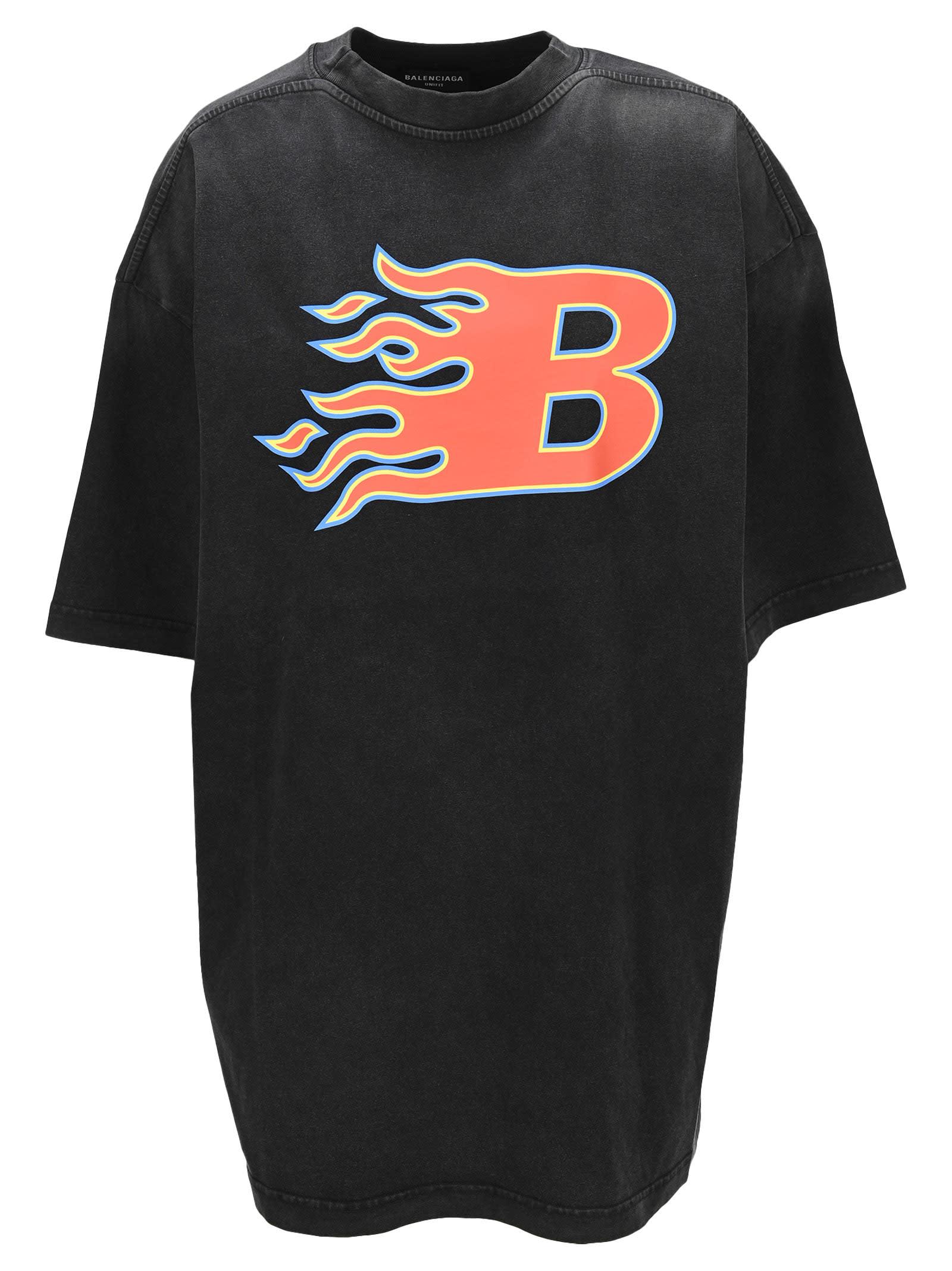 Balenciaga T-shirts OVERSIZED FLAME T-SHIRT