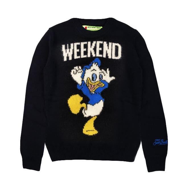 MC2 Saint Barth Blue Navy Dewey Print Boy Sweater - Special Edition Disney©