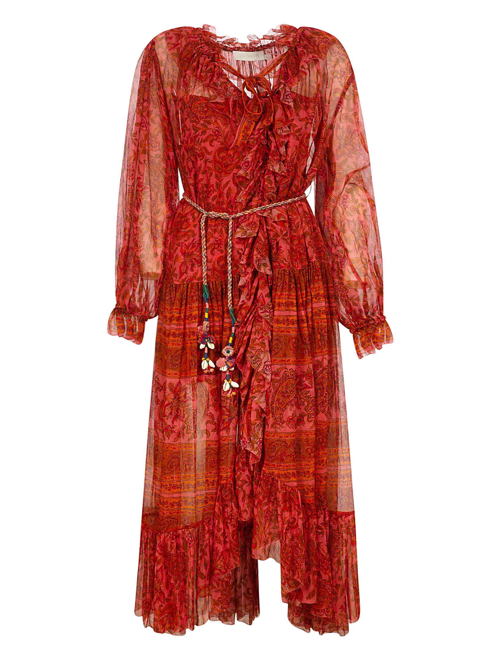 Buy Zimmermann Edie Ruffled Long Robe Dress online, shop Zimmermann with free shipping