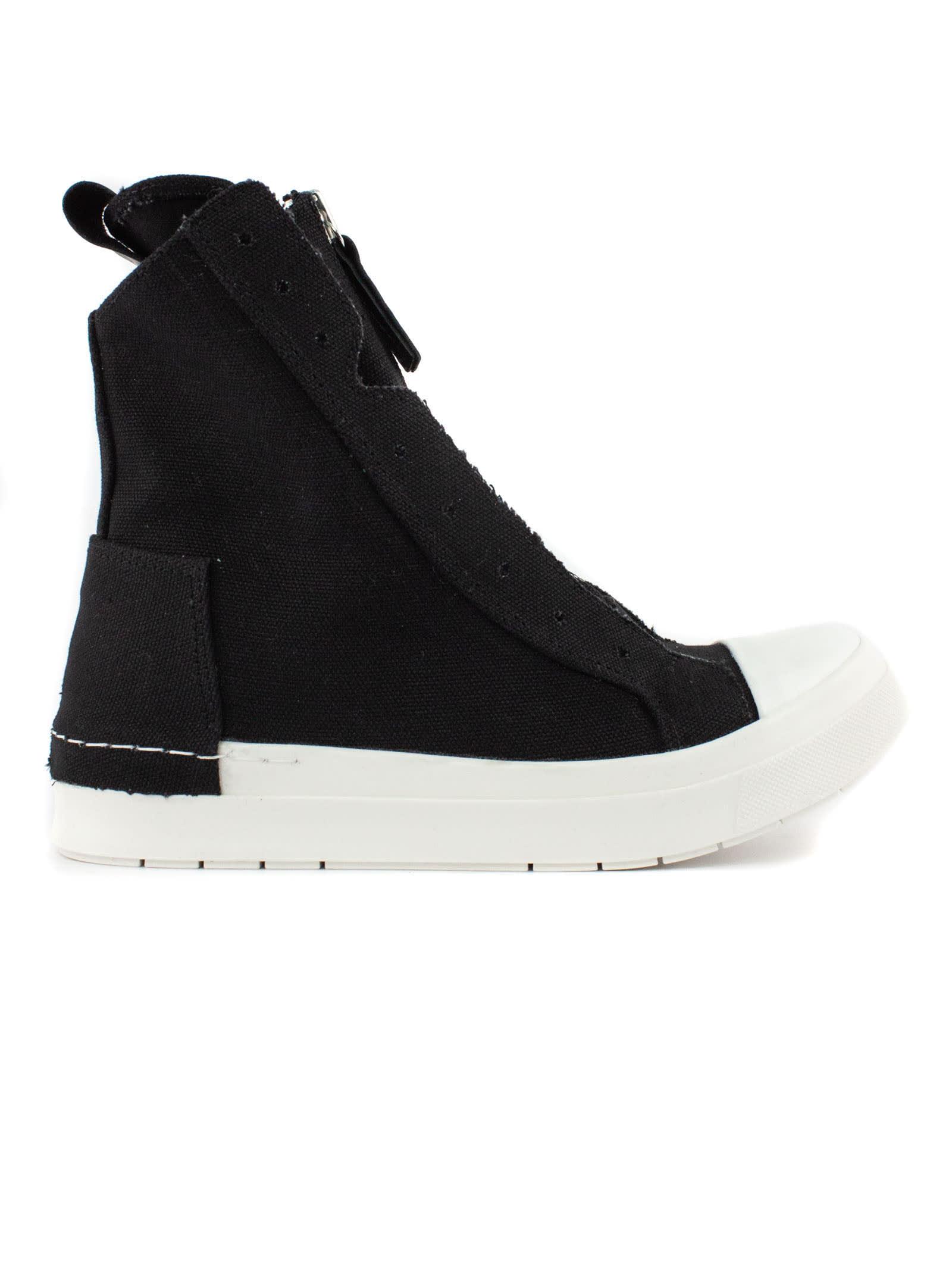 High-top Sneaker In Black Cotton