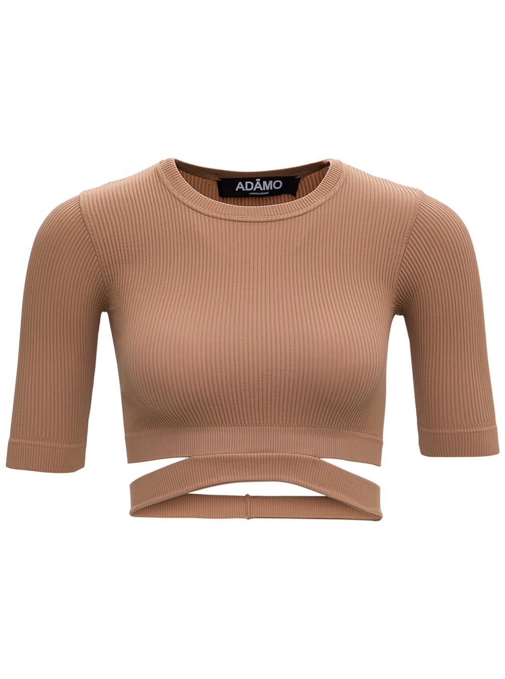 Beige Ribbed Knit Sweater
