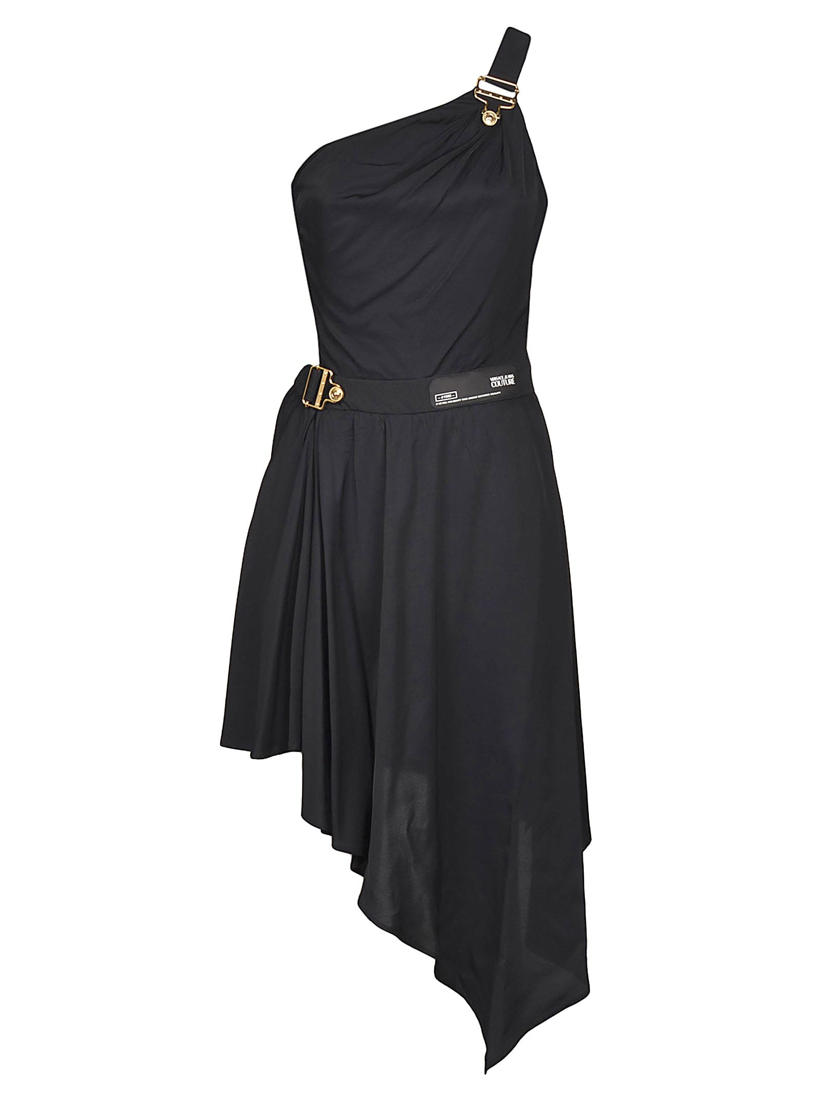 Buy Versace Jeans Couture Asymmetric Belted Dress online, shop Versace Jeans Couture with free shipping