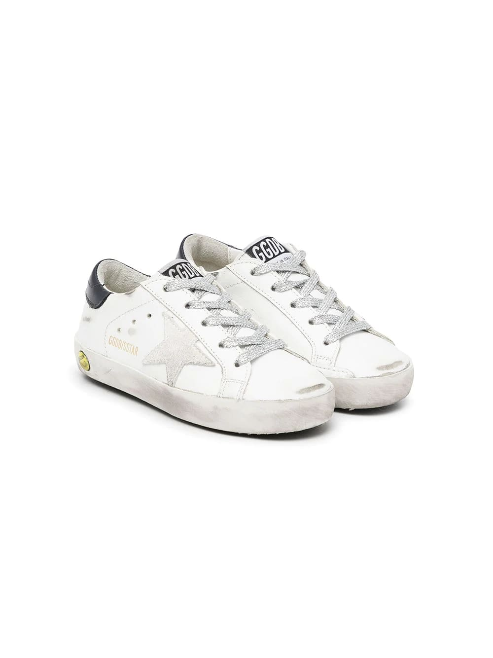 Golden Goose Kids White And Navy Blue Super-star Sneakers With Lurex Laces