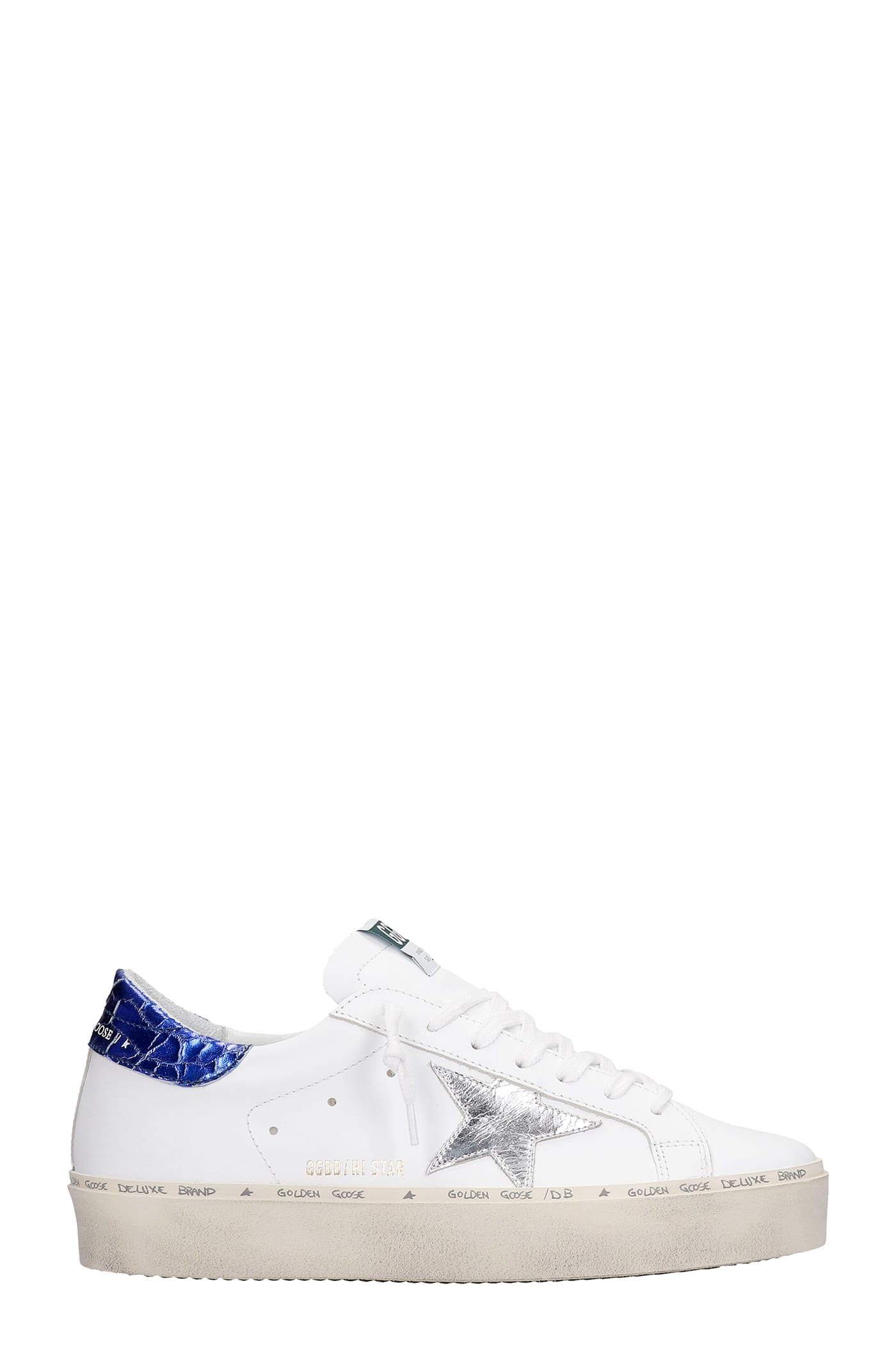 Golden Goose Leathers HI STAR SNEAKERS IN WHITE LEATHER