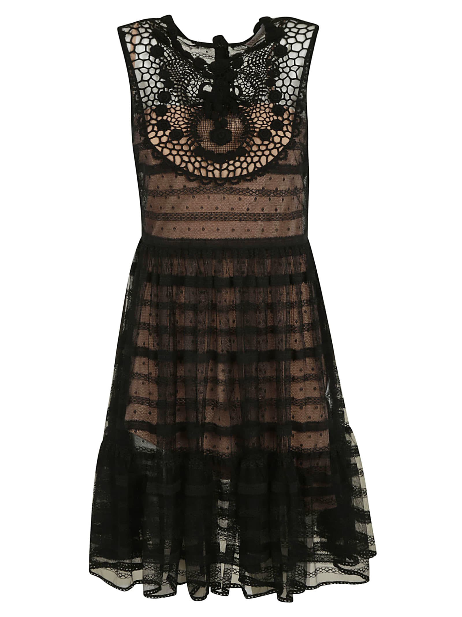 Buy Sleeveless Lace Dress online, shop RED Valentino with free shipping