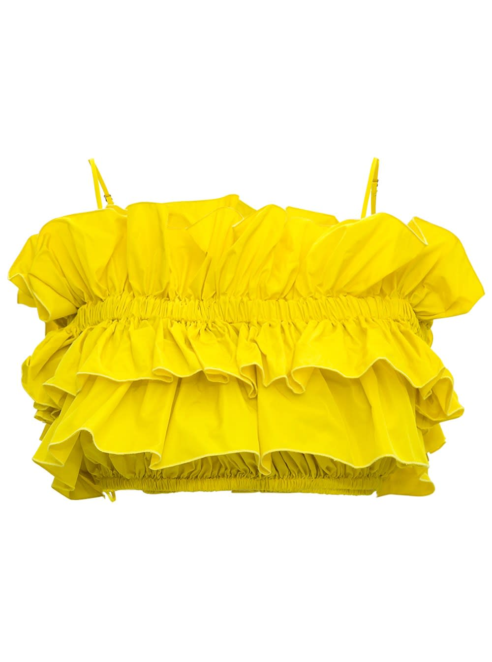 Msgm Clothing YELLOW CREPE CROP TOP WITH FLOUNCES