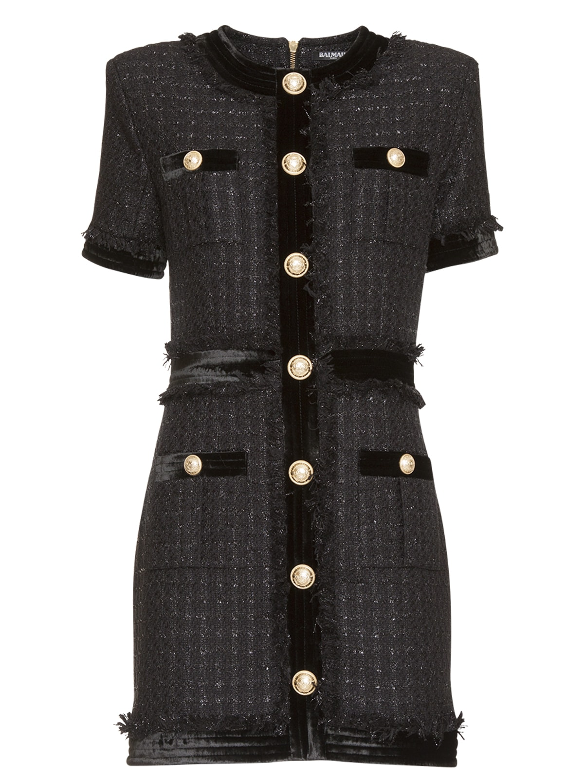 Balmain Short Dress In Black Tweed In Black