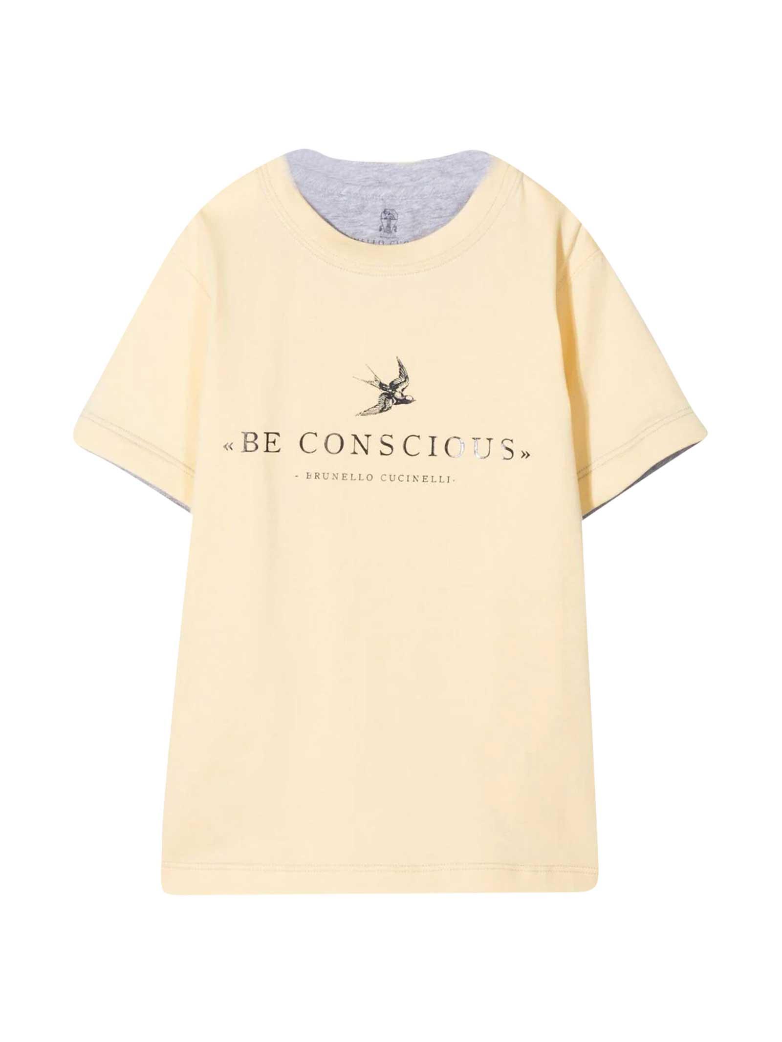 Brunello Cucinelli Cottons KIDS PRINT T-SHIRT