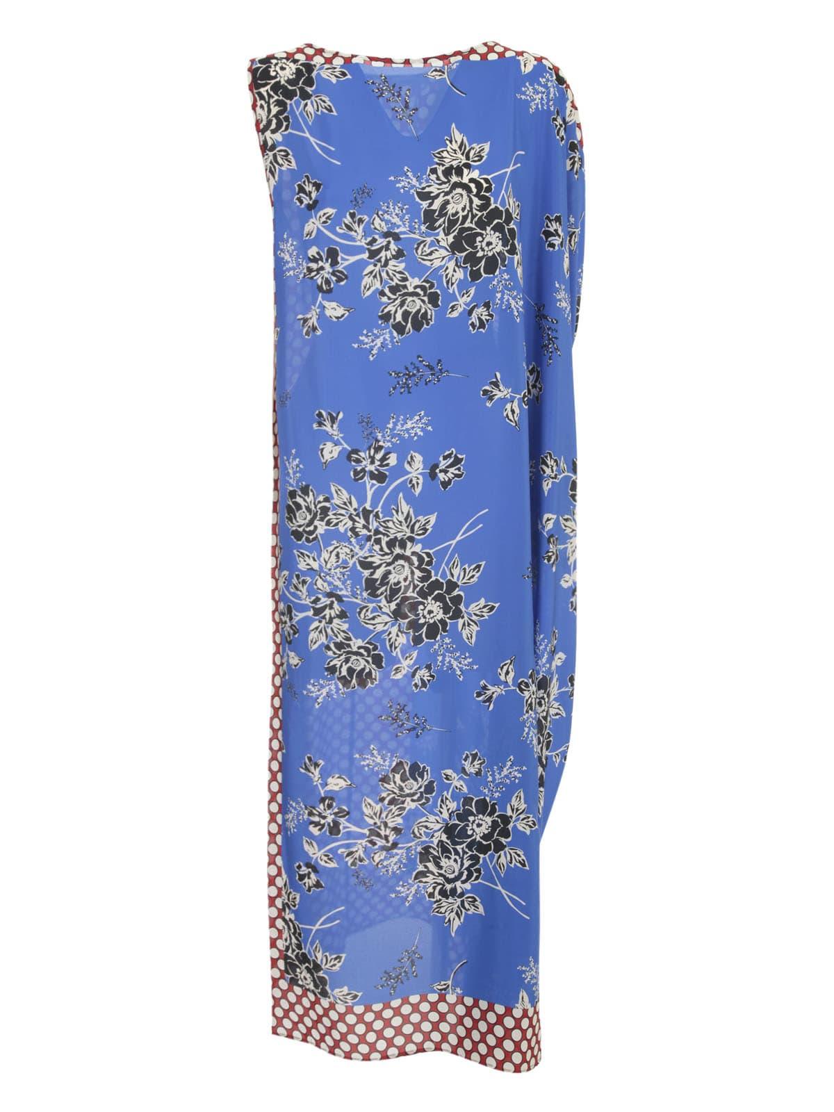 Buy Parosh Maxi Dress W/foulard Fantasy Bluette online, shop Parosh with free shipping