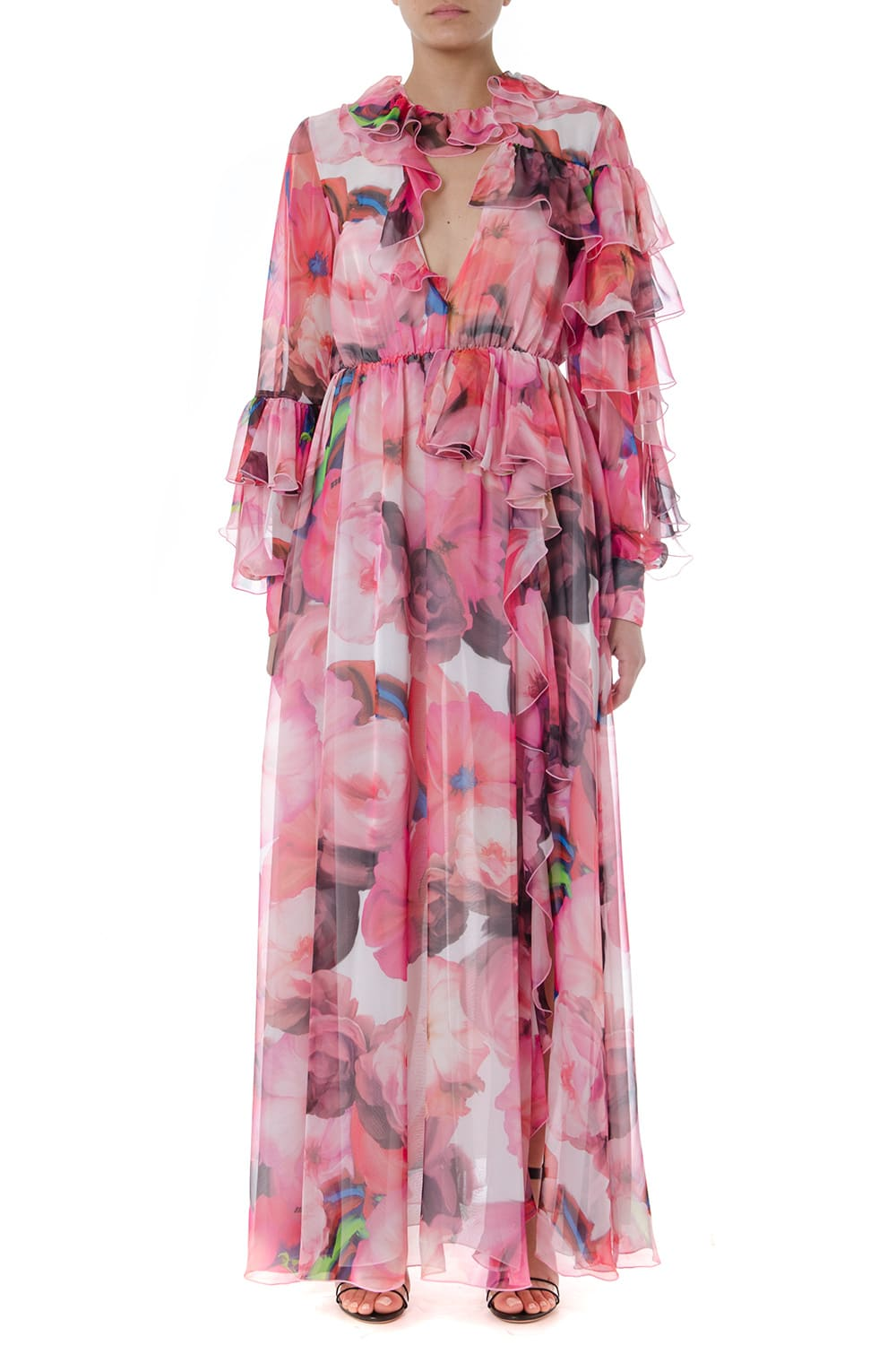 MSGM Long Multicolor Flower Print Dress