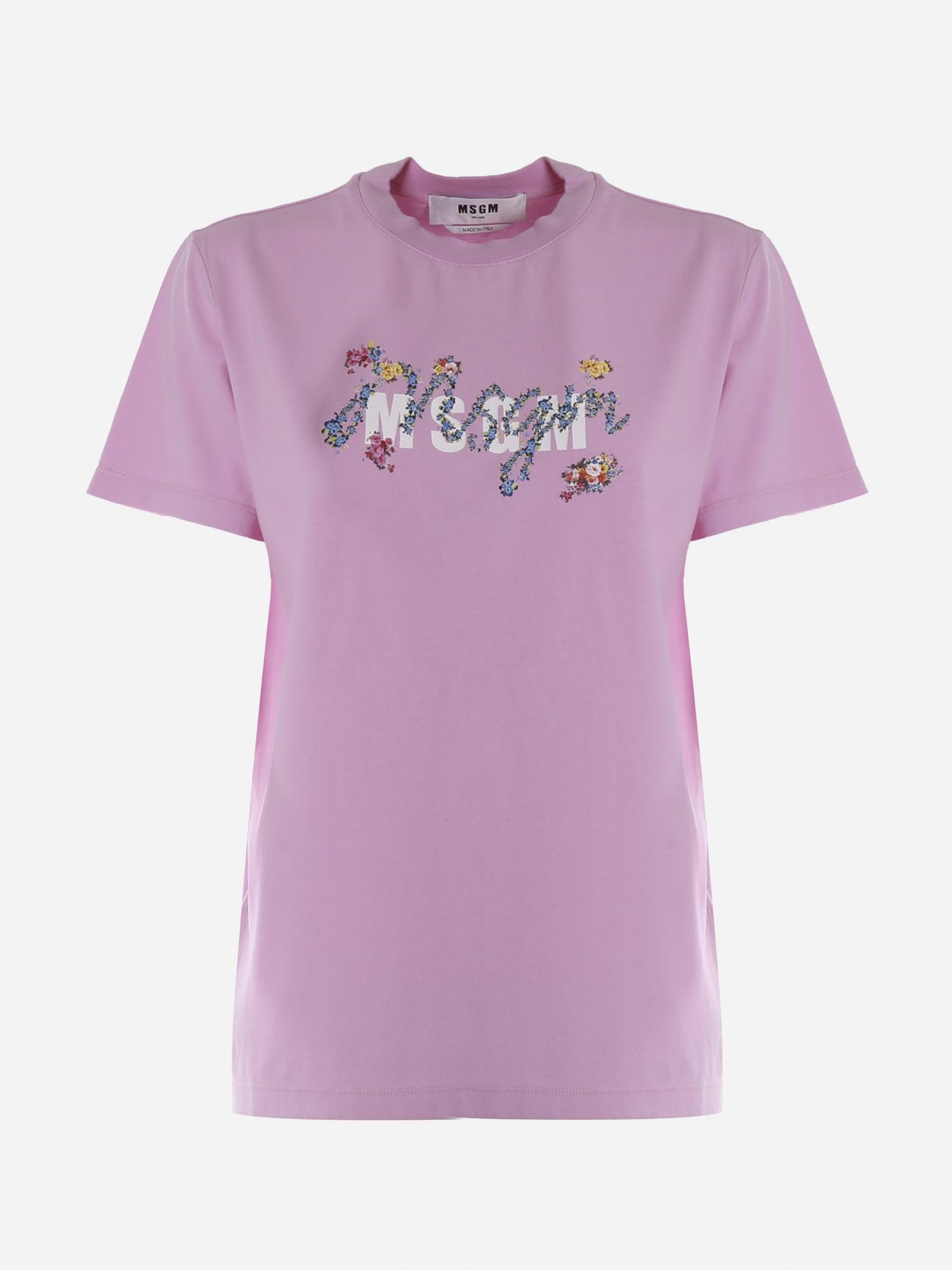 Msgm Cottons MSGM PINK COTTON T-SHIRT