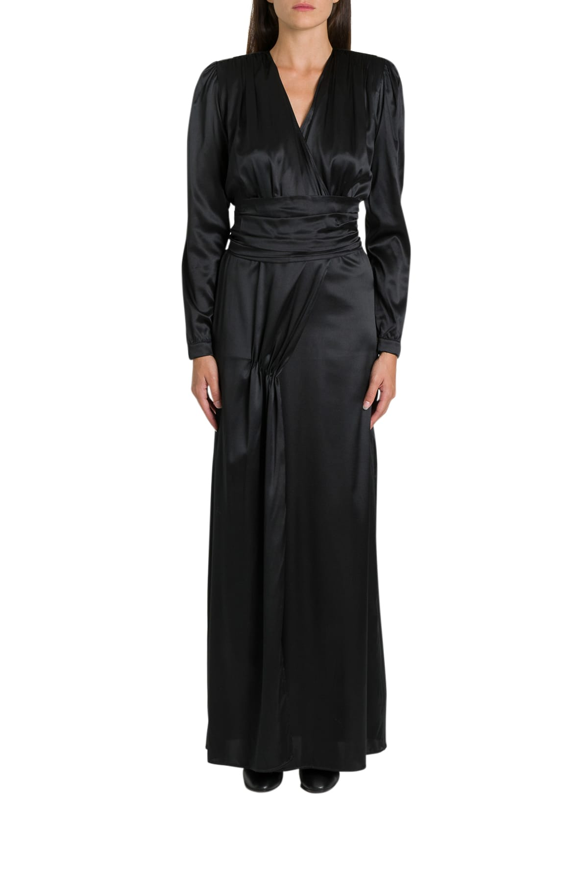 Federica Tosi Long Silk Satin Dress With Sash On Waist