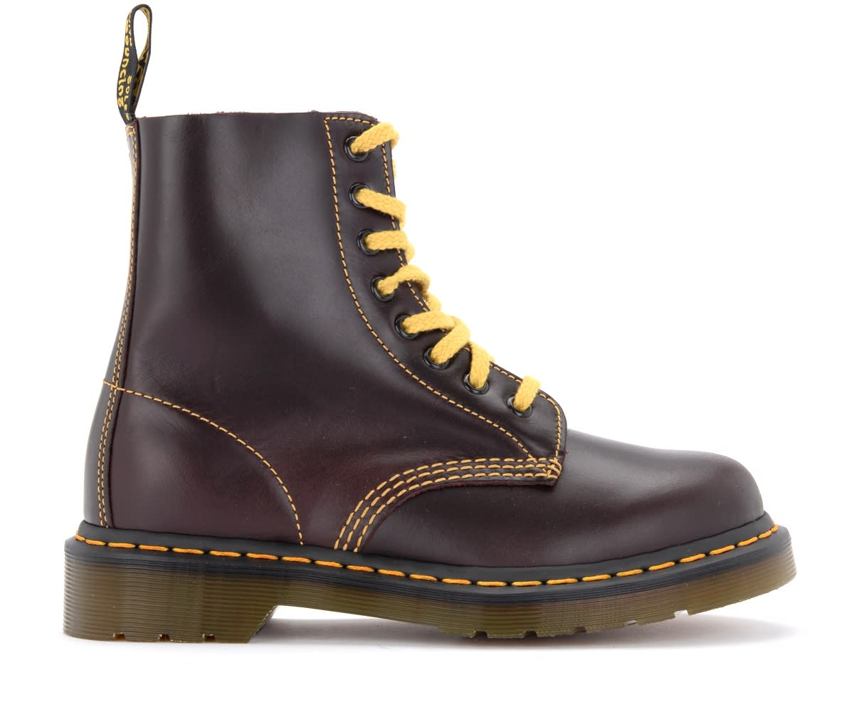 Dr Martens 8-holes Pascal Atlas Combat Boot In Burgundy Red Leather With Yellow Stitchings